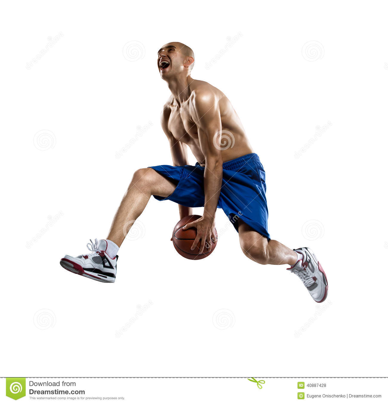 Basketball Player in action Isolated bg.