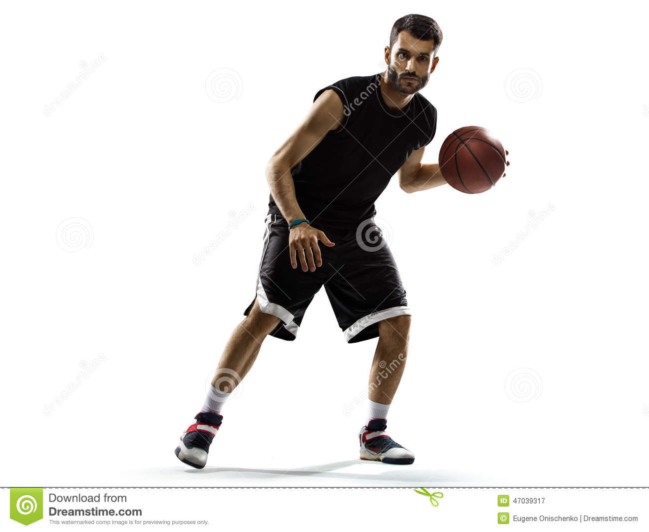 Basketball Player In Action Isolated On White Stock Photo - Image ...