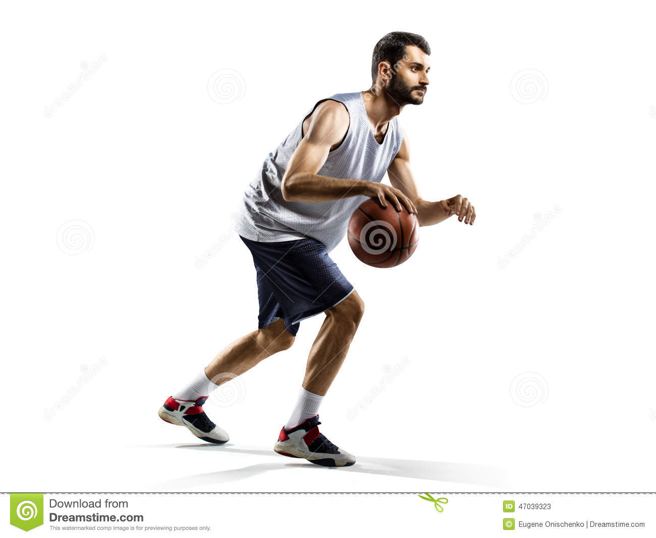 Basketball Player In Action Isolated On White Stock Image ...