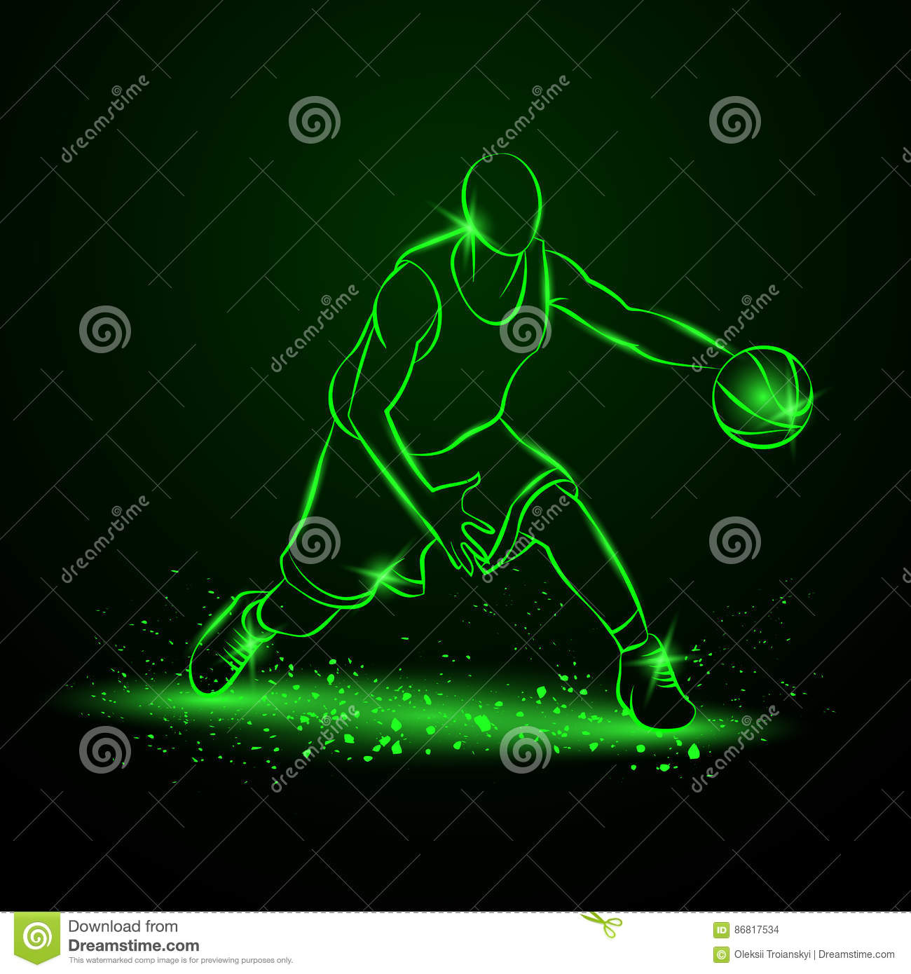 Basketball player with ball. Neon style