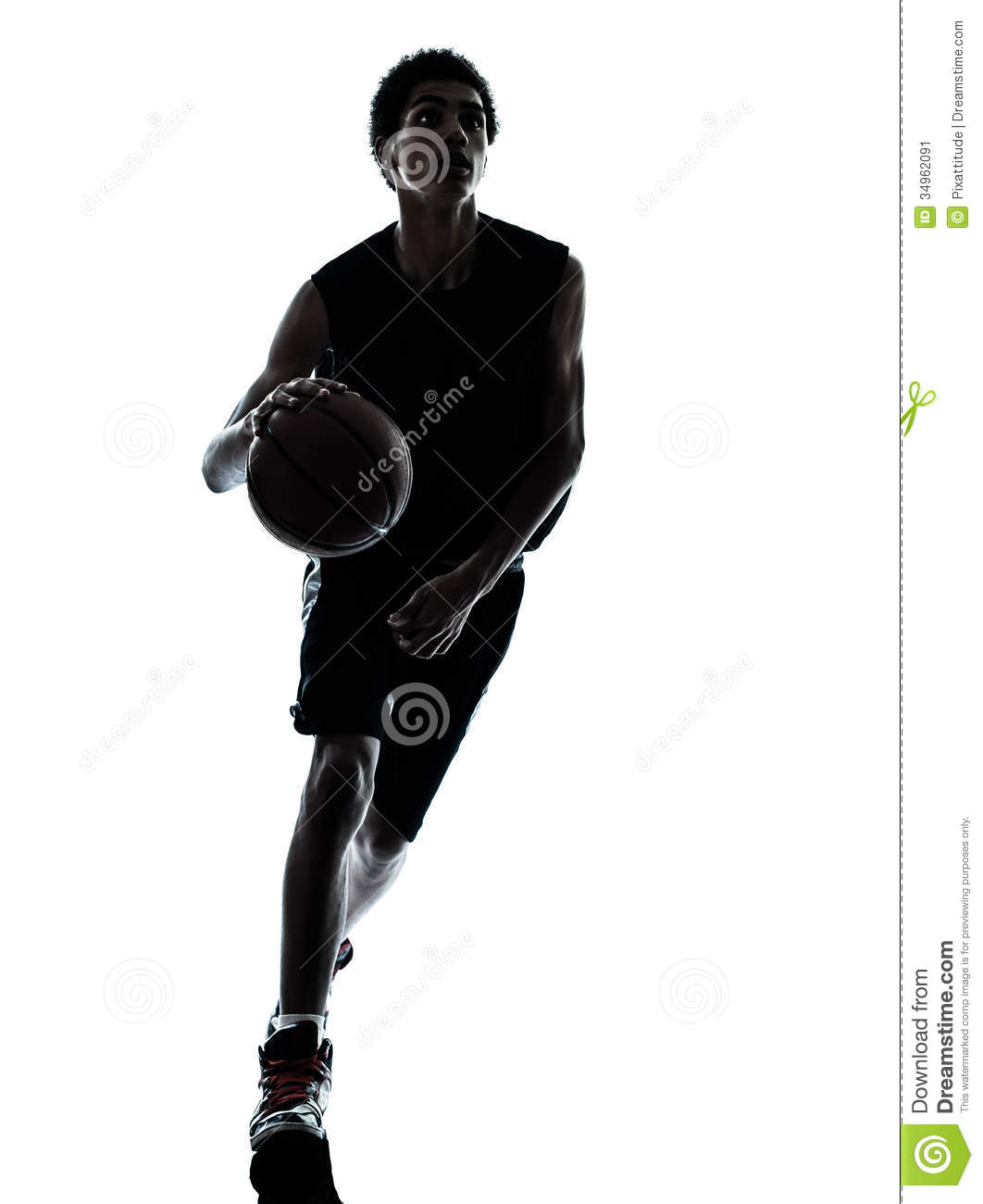 Basketball Player Dribbling Silhouette Stock Image - Image: 34962091