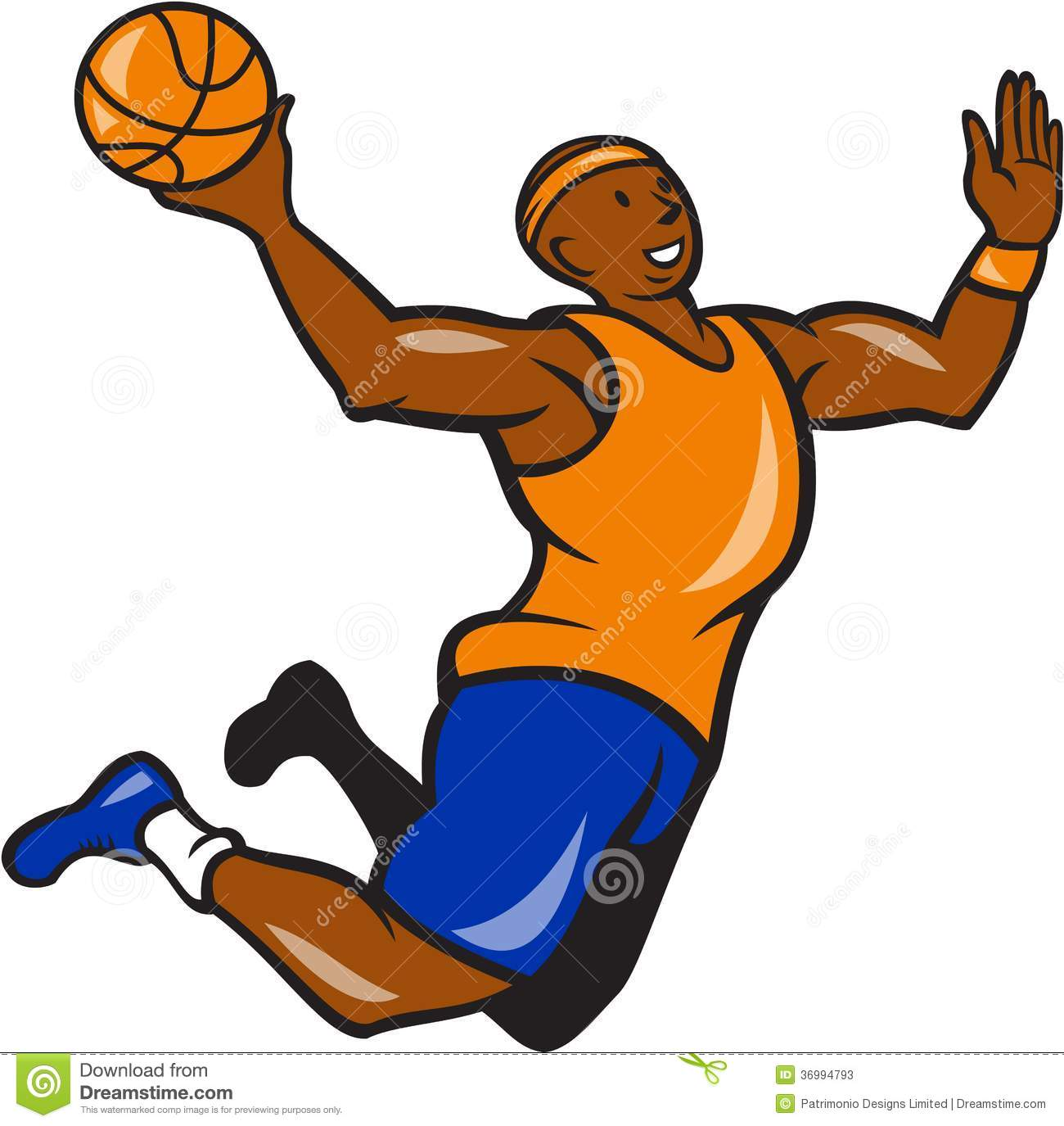 Illustration of a basketball player dunking rebounding lay up ball set ...