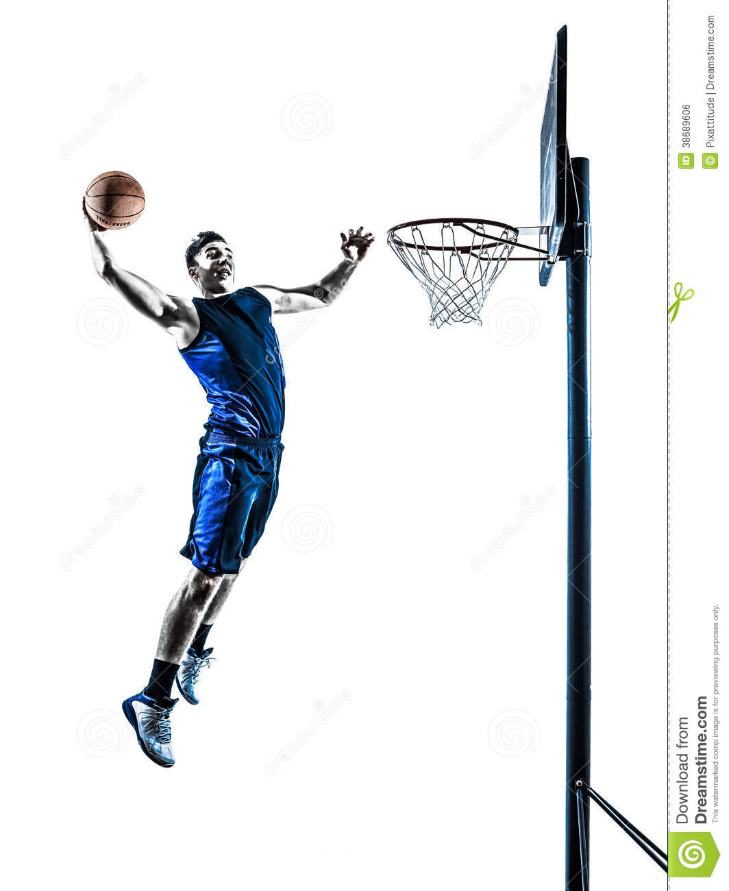 Basketball Player Jumping Dunking Silhouette Royalty Free Stock Image ...