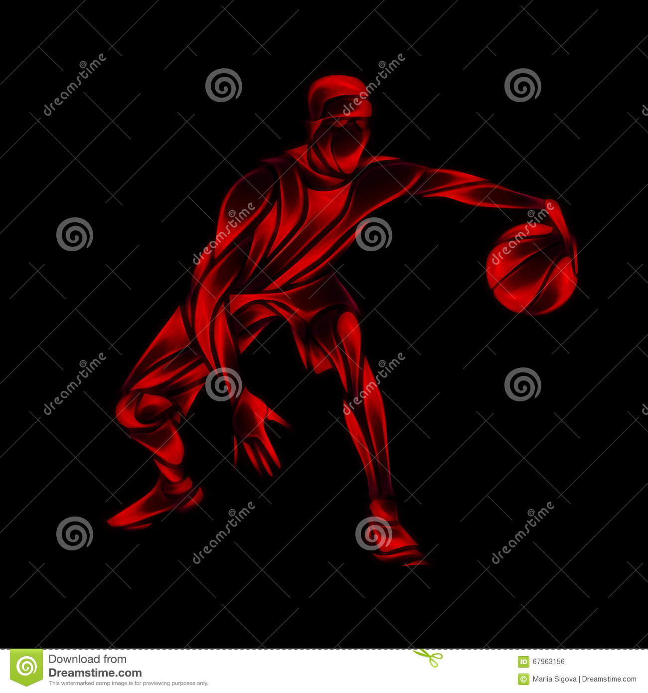 Basketball Player Red Glow Silhouette On Black Stock