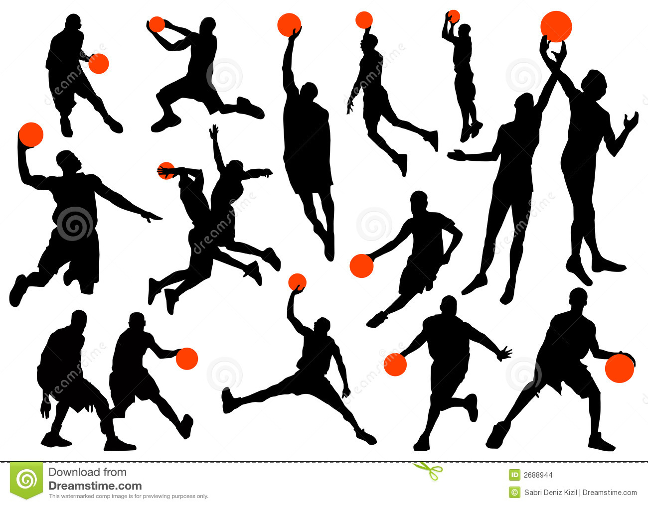 Basketball Player Silhouettes Stock Images - Image: 2688944