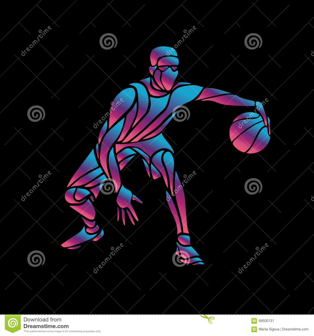 Knight Basketball Player Wallpaper: Basketball Player Slam Dunk Neon Glow Silhouette Stock