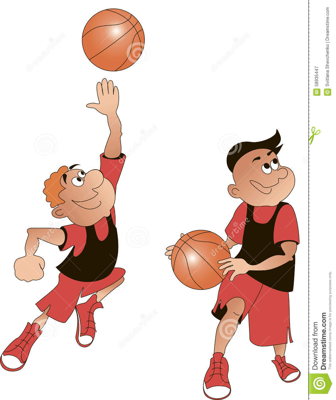 Basketball Players Cartoon, Vector Stock Vector - Image: 58935447