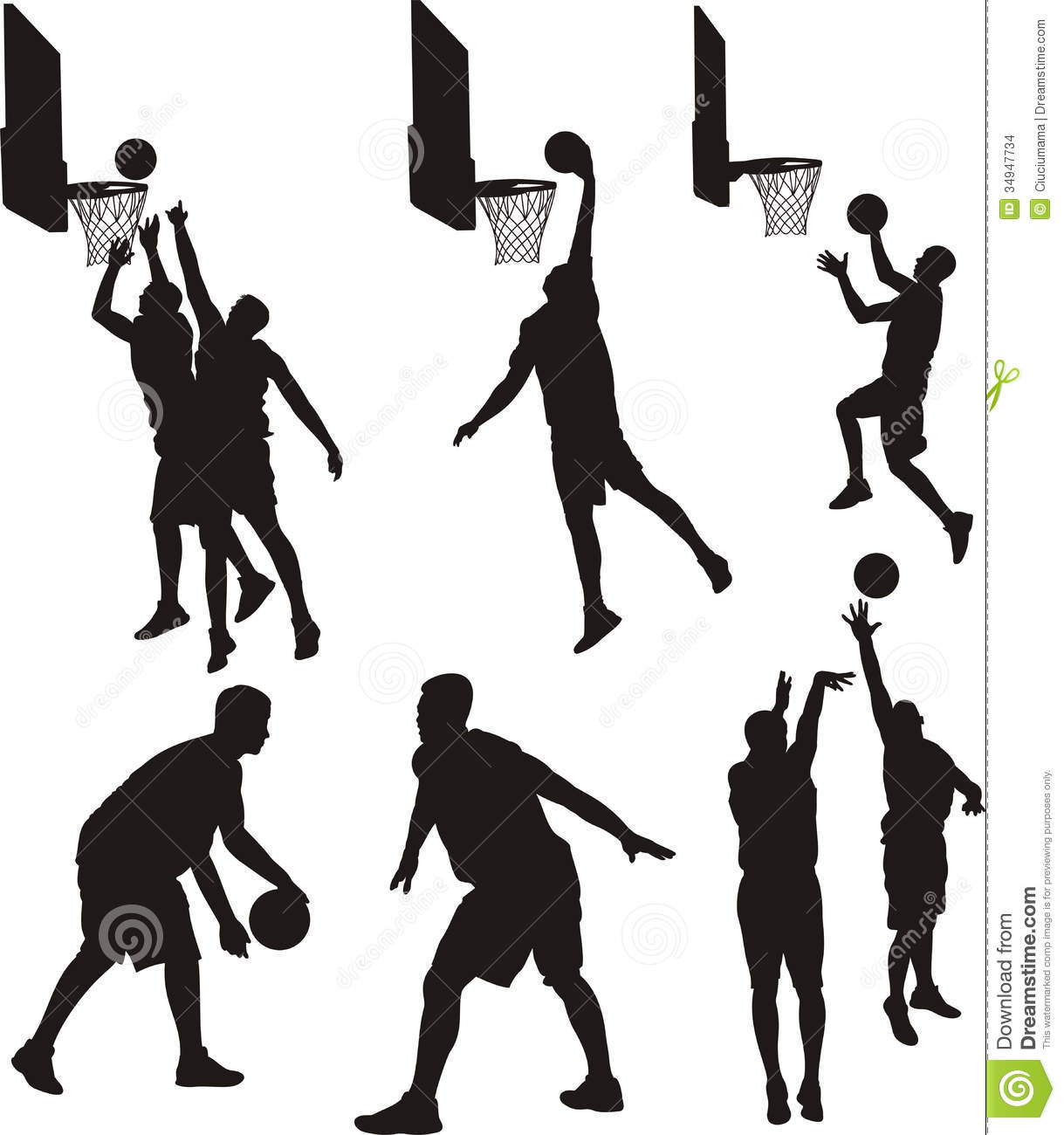 Basketball Players - Silhouette Stock Photo - Image of ...
