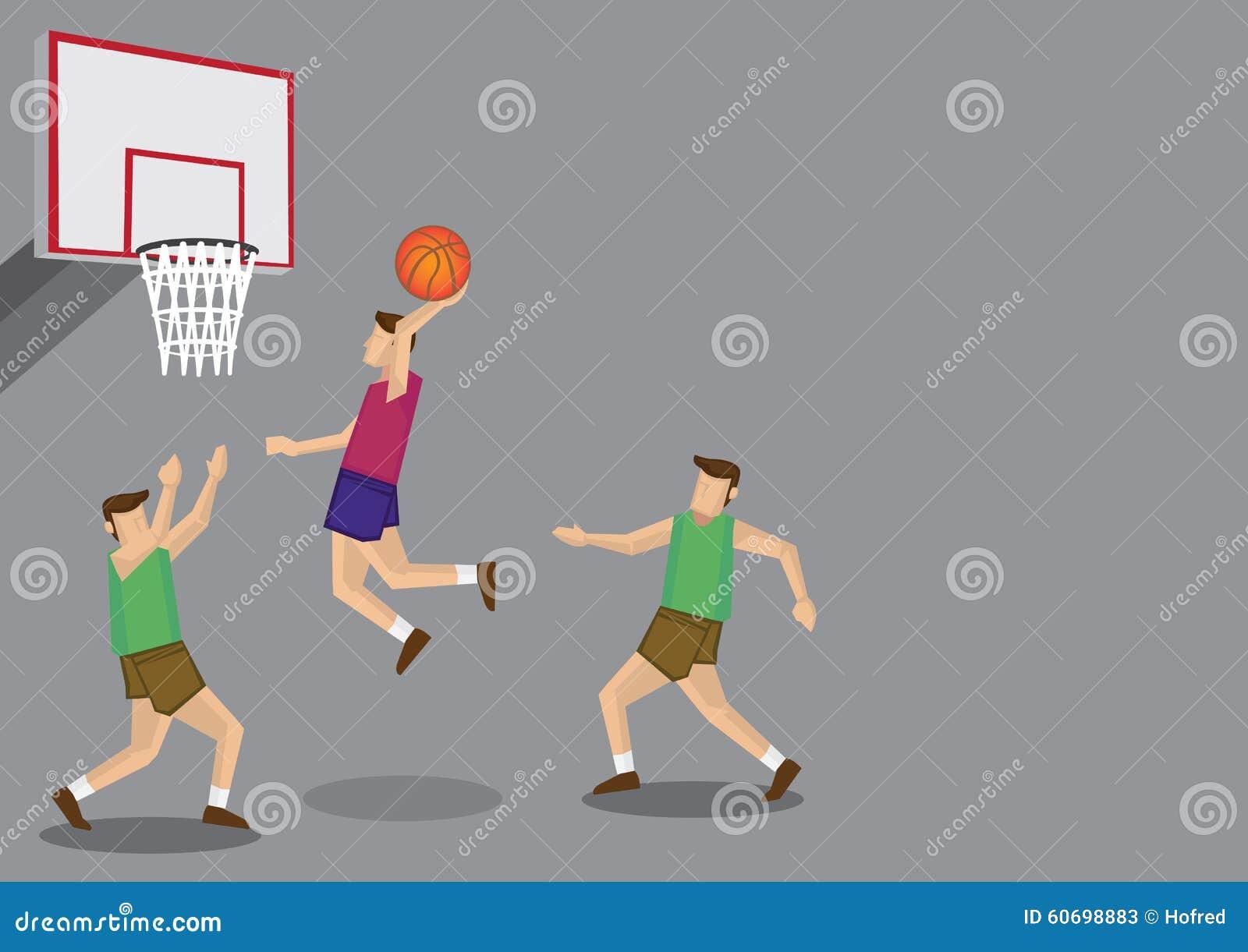 Basketball Players Slam Dunk Shot Vector Illustration