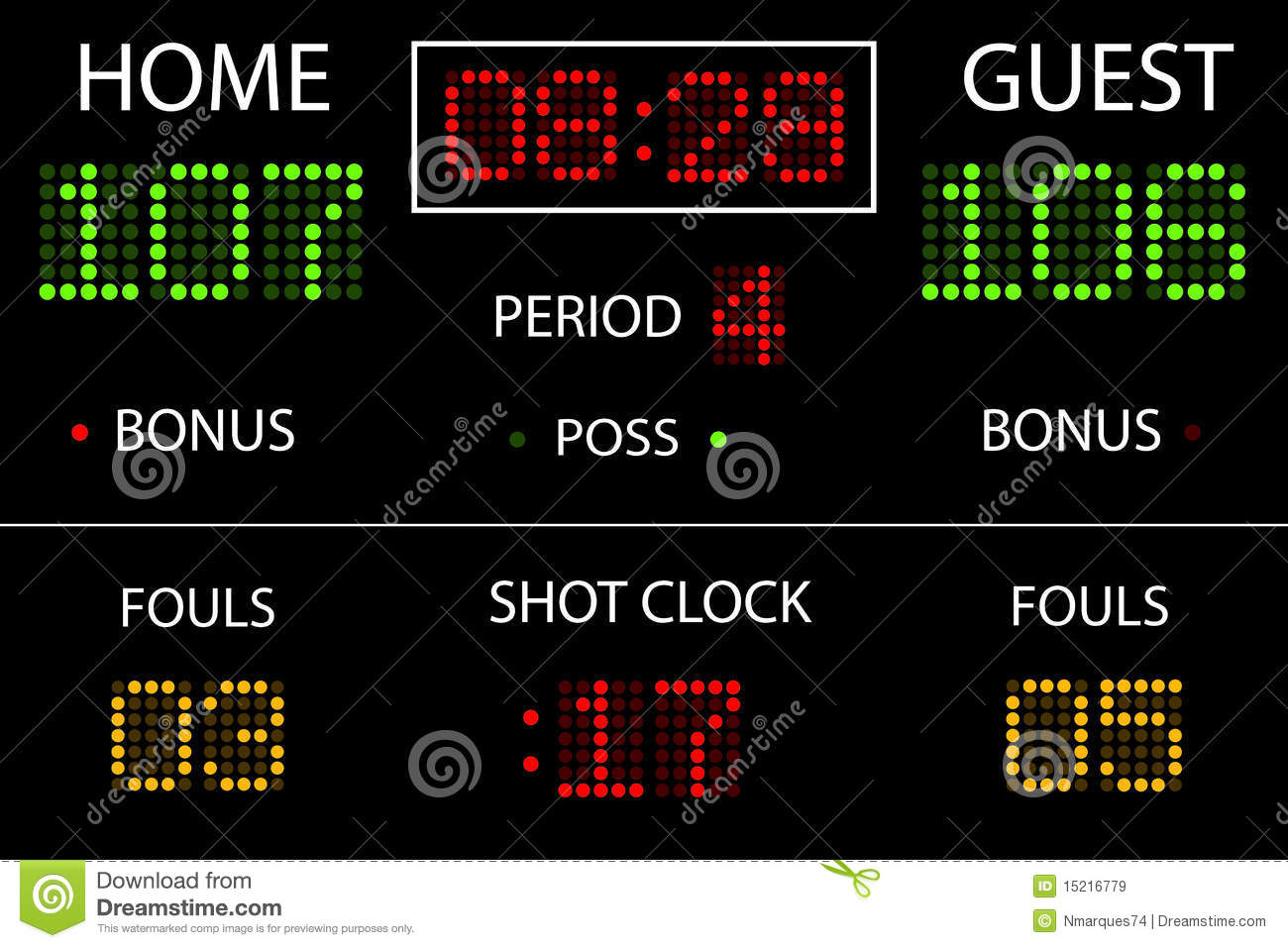 Basketball Scoreboard stock vector. Image of college ...
