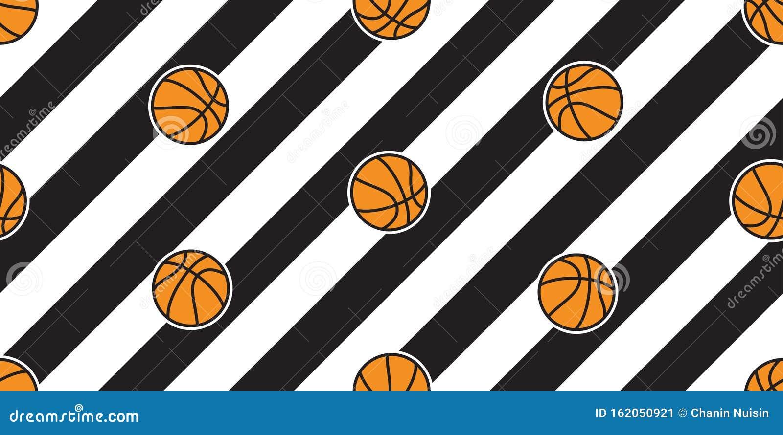 Sport Wallpaper Doodle: Basketball Seamless Pattern Vector Stripes Ball Sport