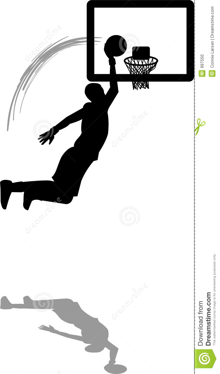 Illustration of a basketball player dunking the ball.