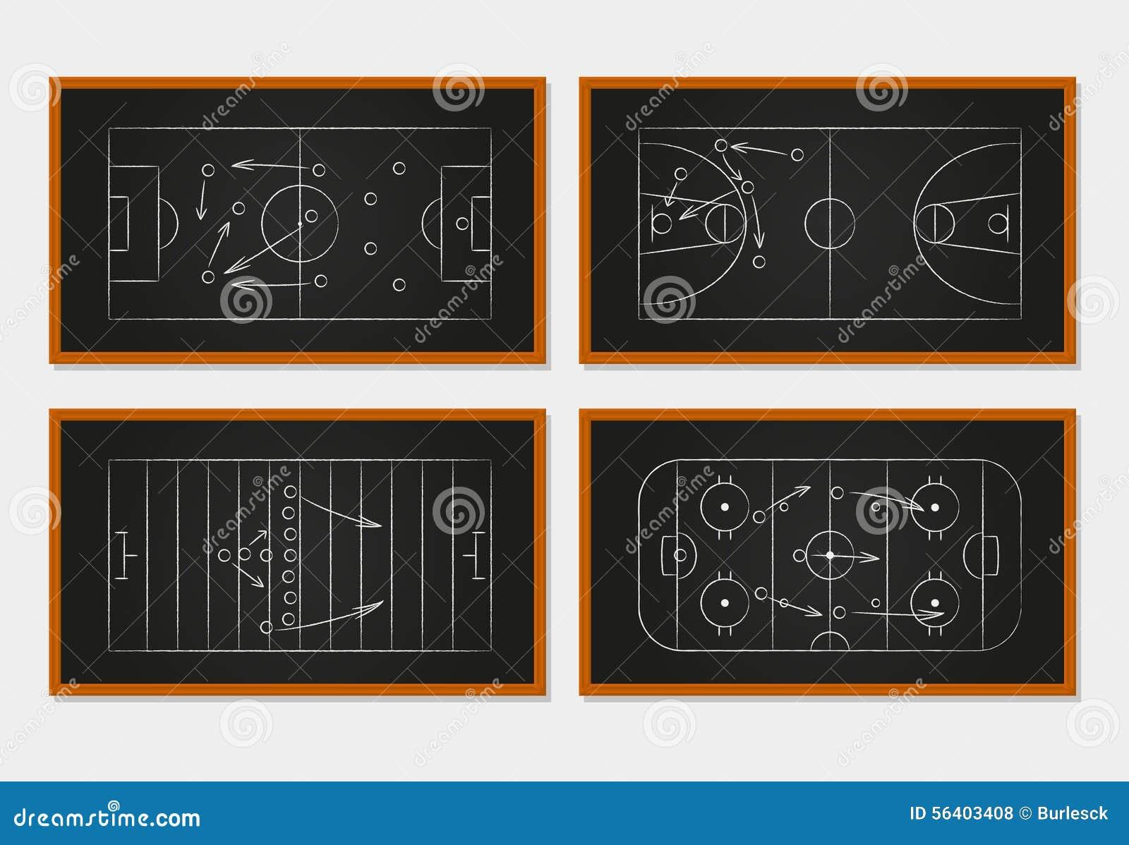 basketball  soccer  football and ice hockey courts stock vector