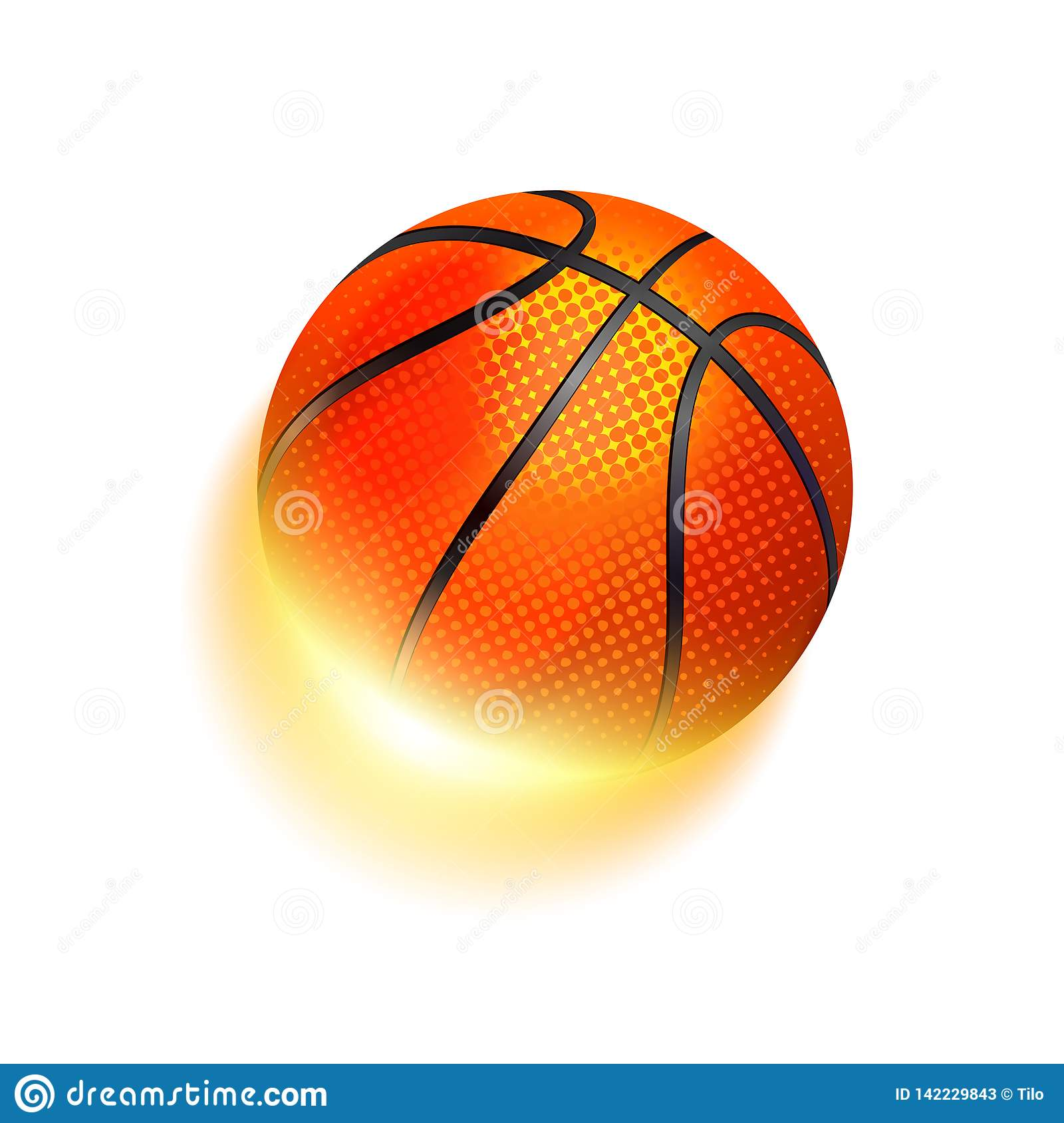 Basketball sport ball in fire