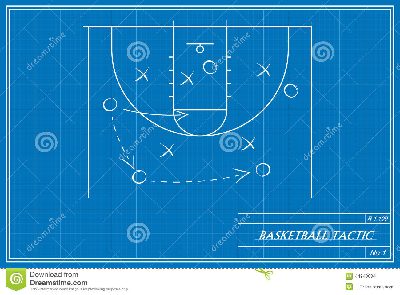 Basketball tactic on blueprint stock illustration illustration of download comp malvernweather Choice Image