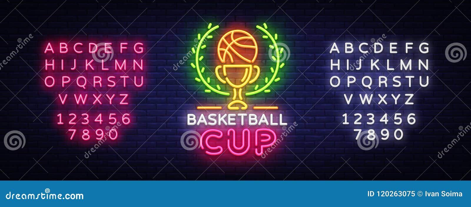 Basketball Tourament Night Neon Logo Vector. Basketball Cup neon sign, design template, modern trend design, sports neon