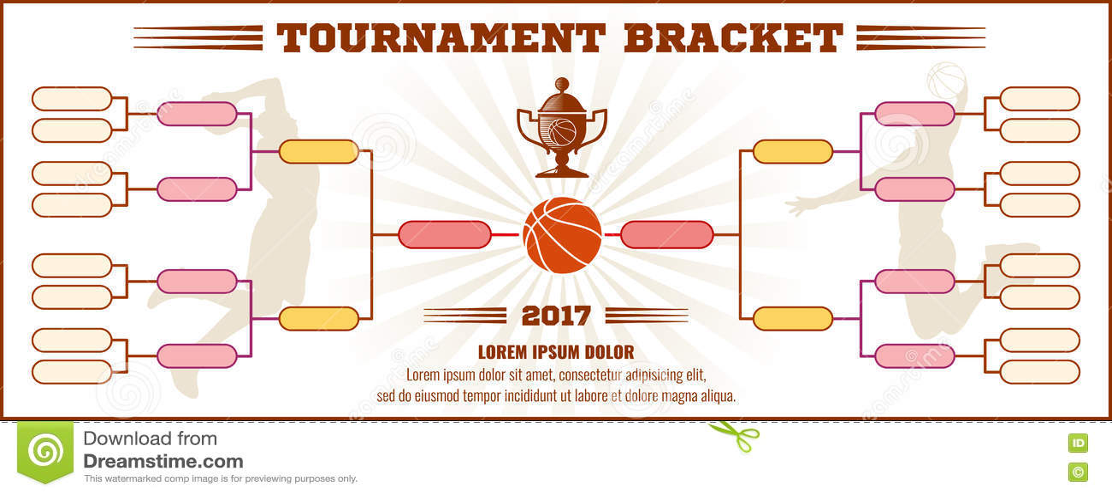Basketball Tournament Bracket Vector Mockup Stock Vector