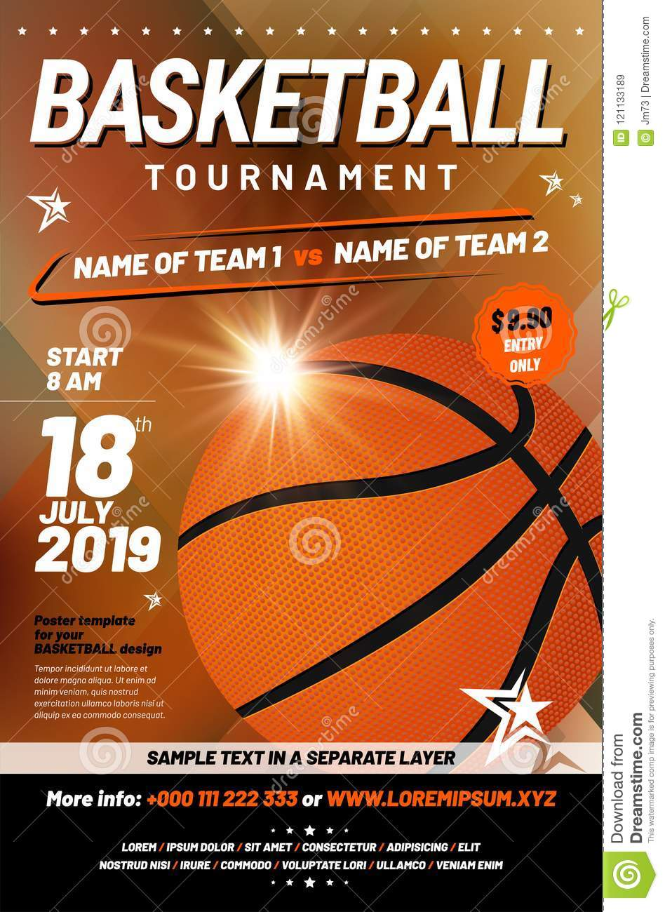 Basketball Tournament Poster Template With Sample Text Stock ...