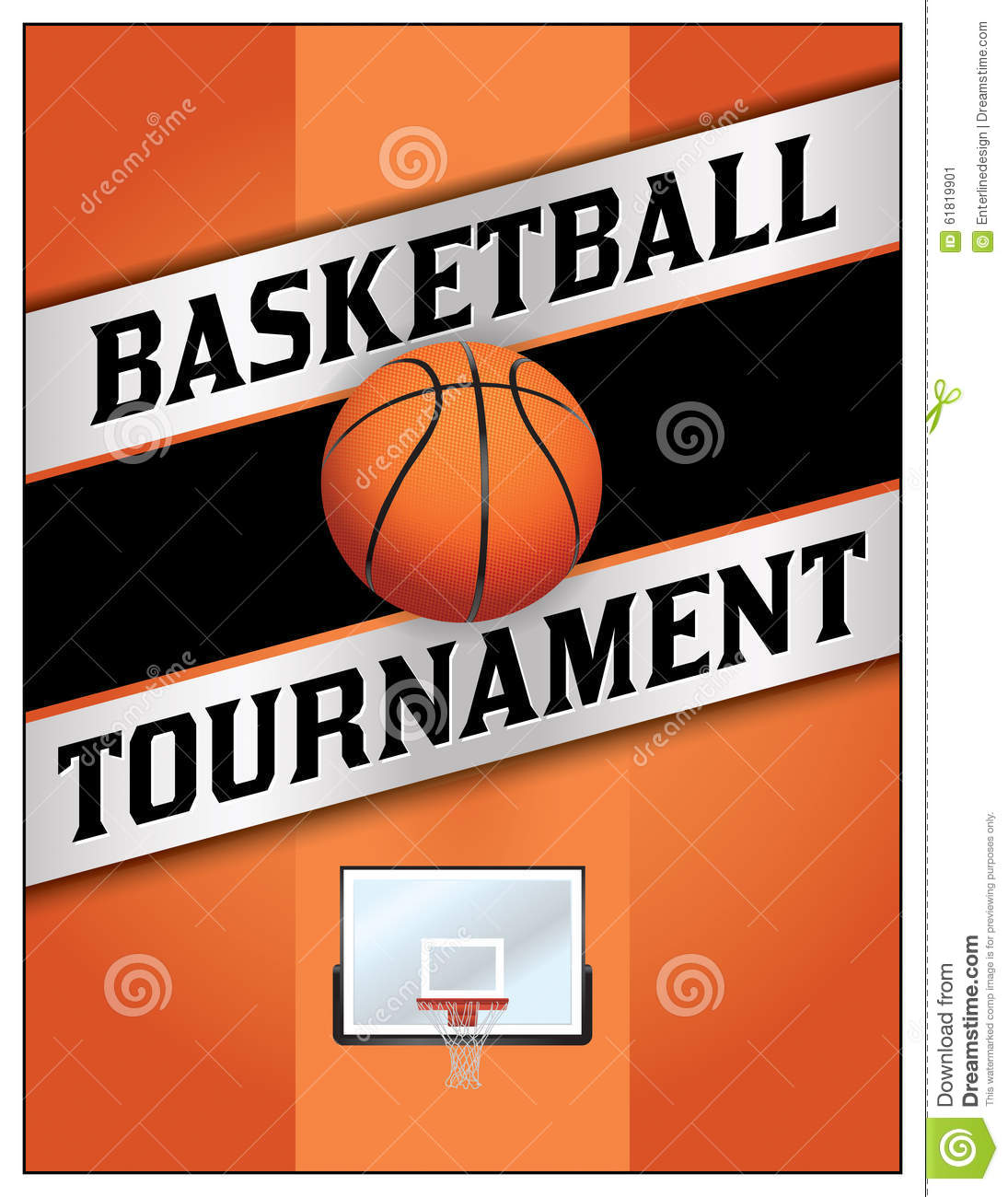 poster basketball ball in flames and lights against black backgr cartoon vector