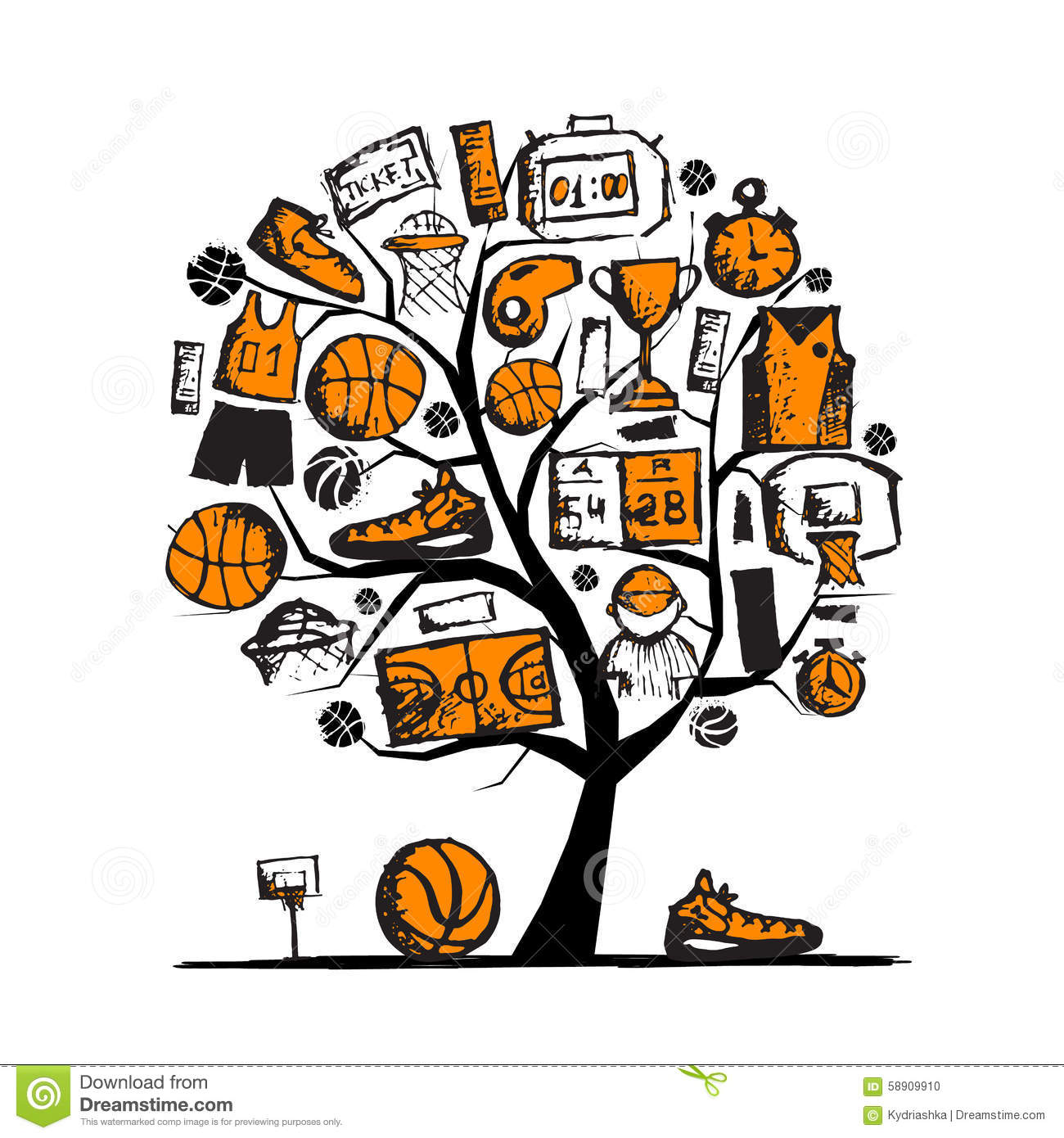 basketball tree concept sketch for your design stock vector