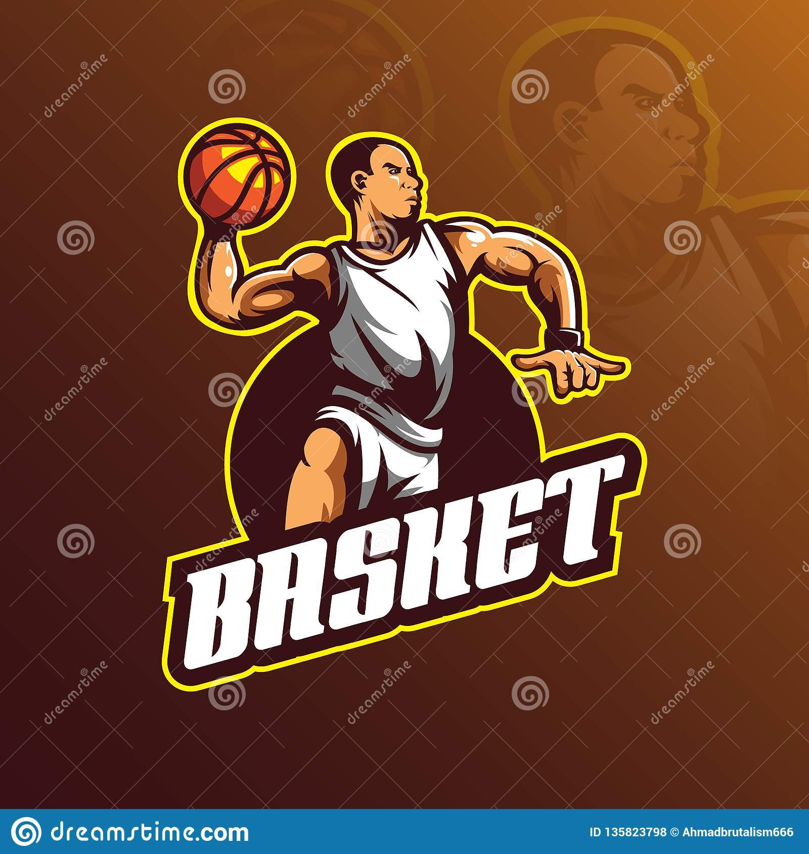 Basketball vector logo design mascot with modern illustration concept style for badge, emblem and tshirt printing. basketball play