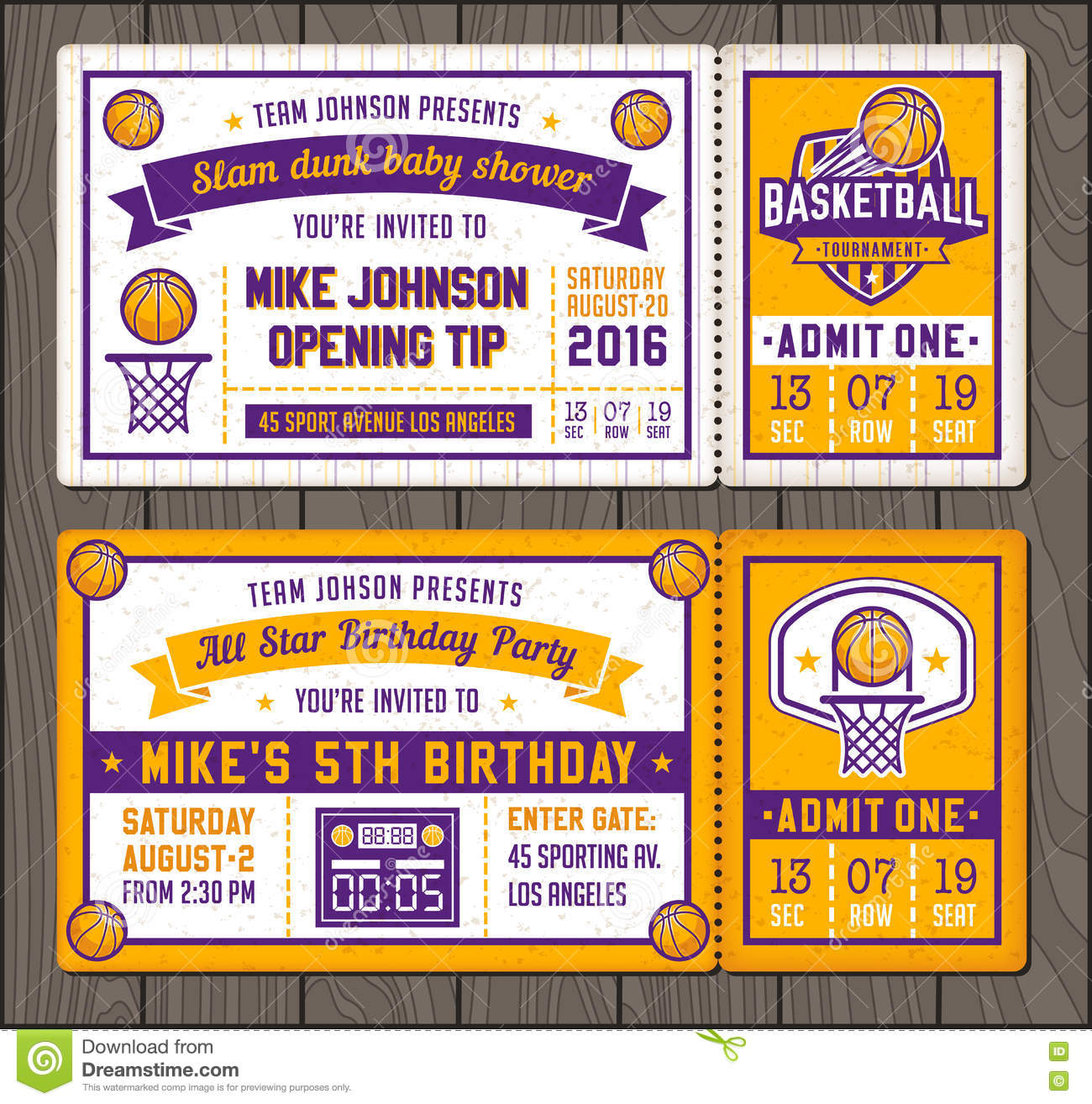 Basketball Vector Ticket Templates Stock Vector - Illustration of ...