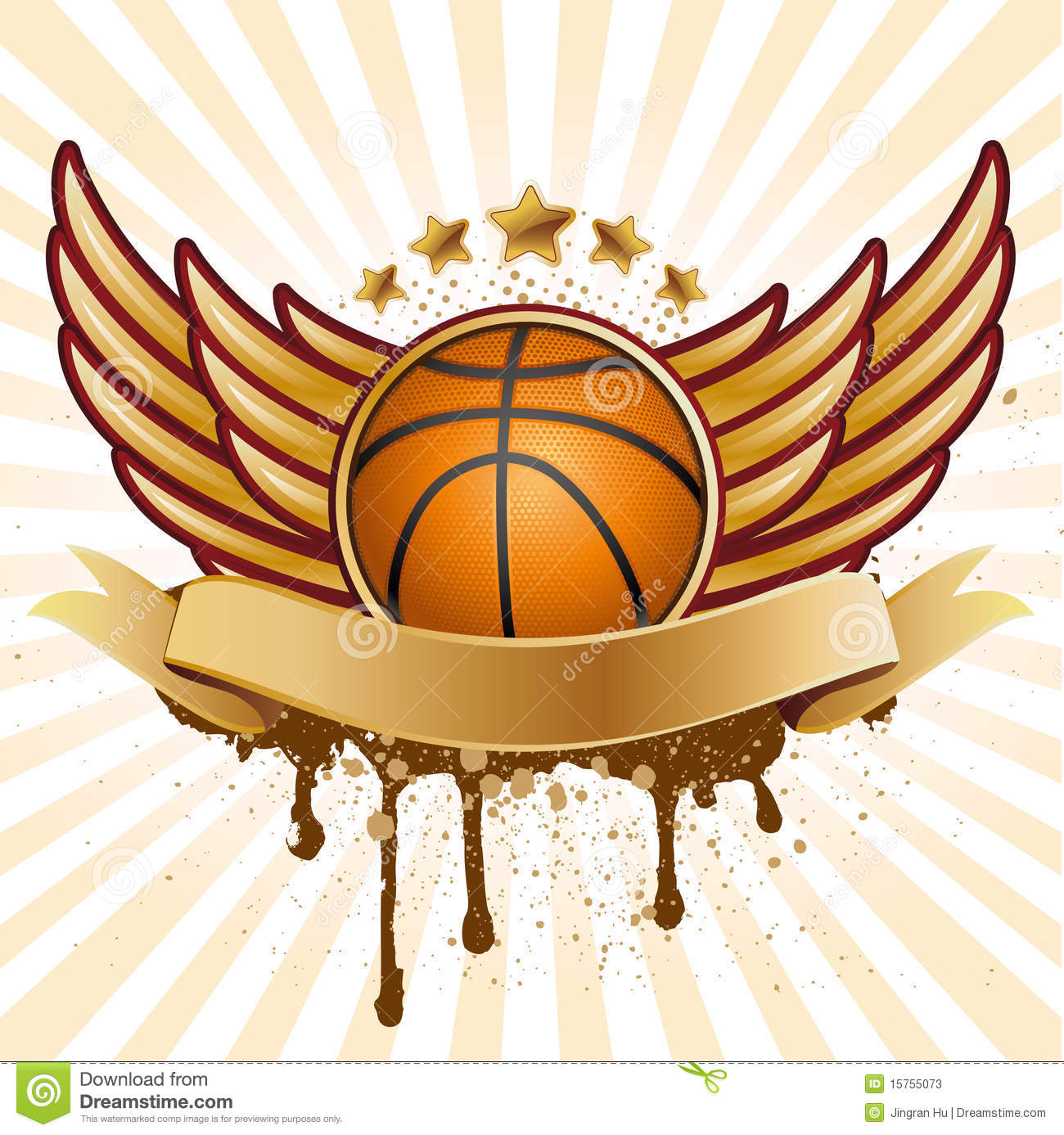 basketball and wing stock vector illustration of elegance 15755073
