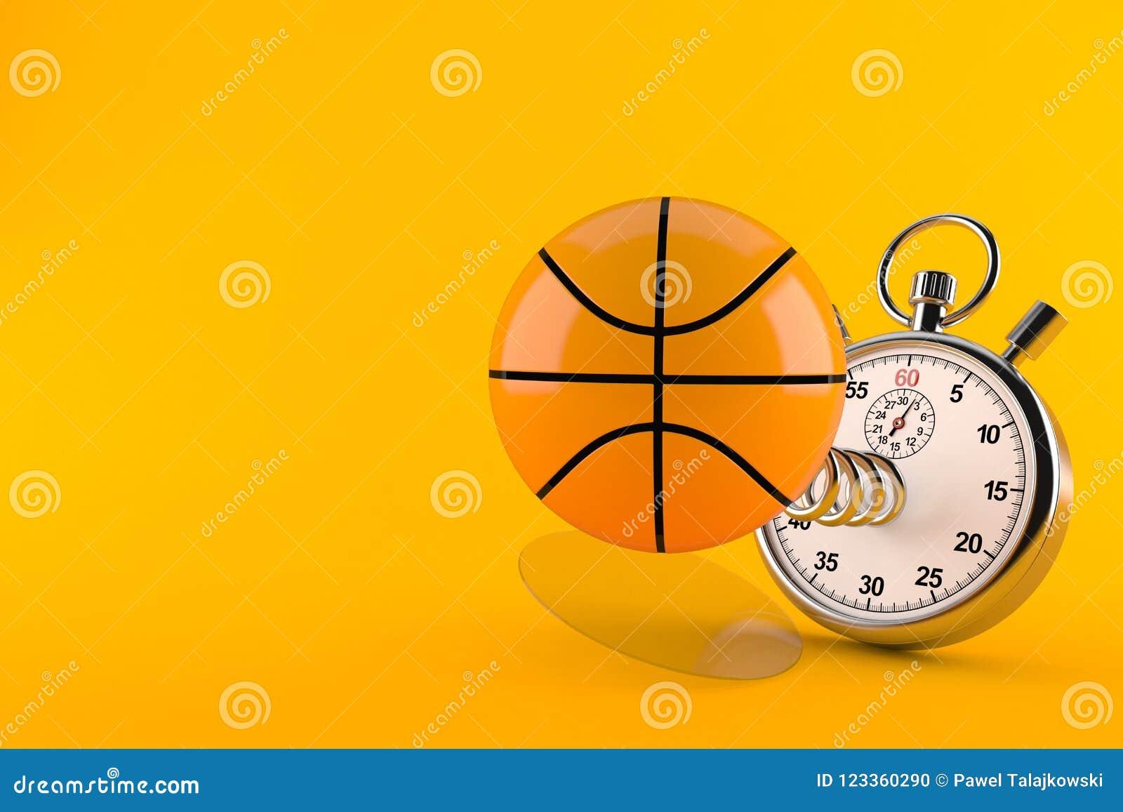 Basketballball mit Stoppuhr