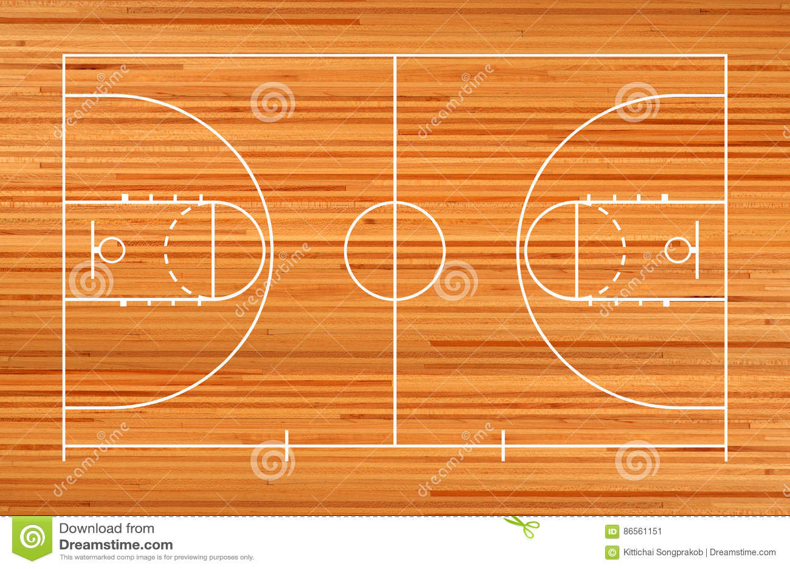 Basketballplatzboden mit Linie auf Bretterboden