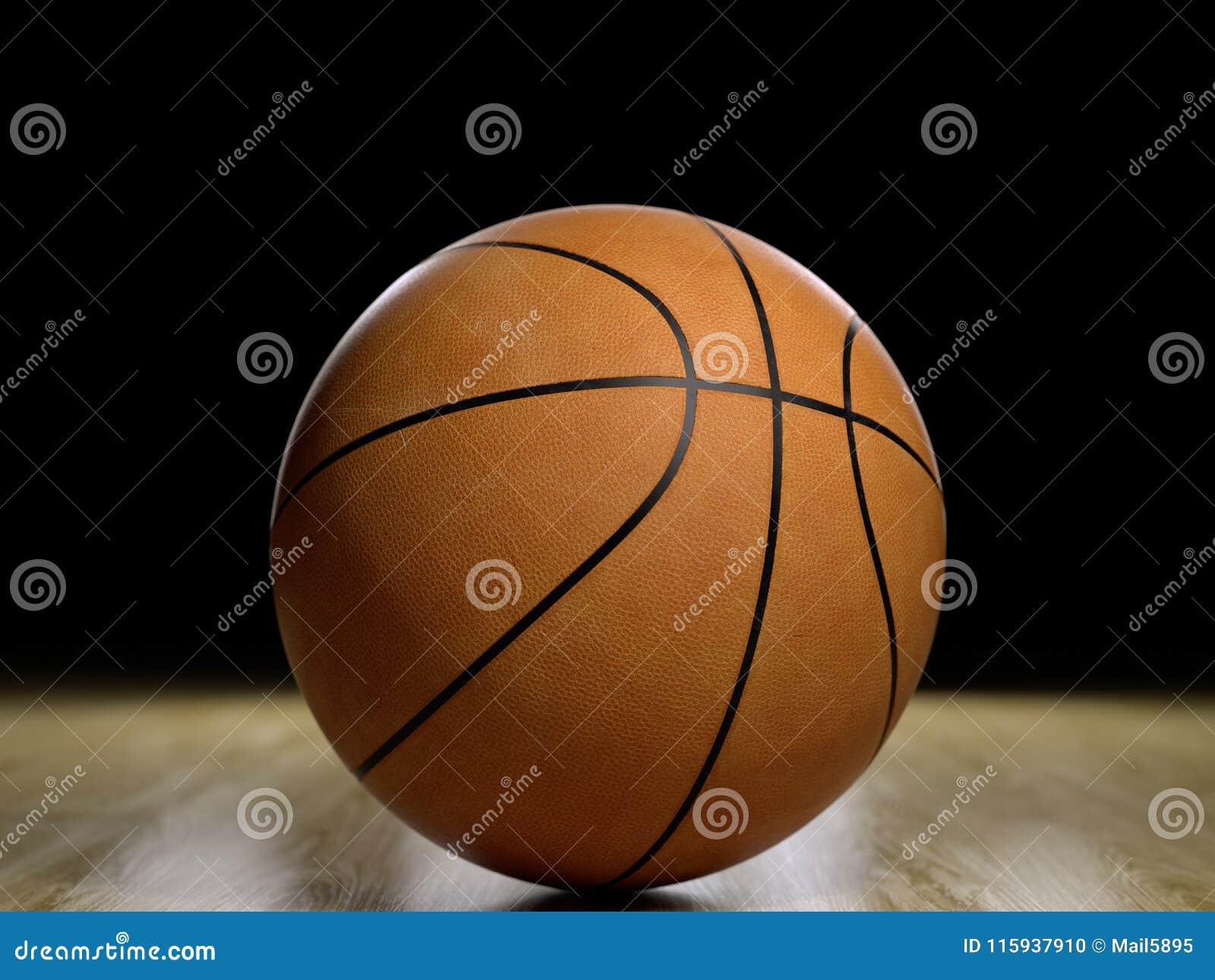 Basketballplatzbretterboden mit dem Ball lokalisiert auf Schwarzem mit c