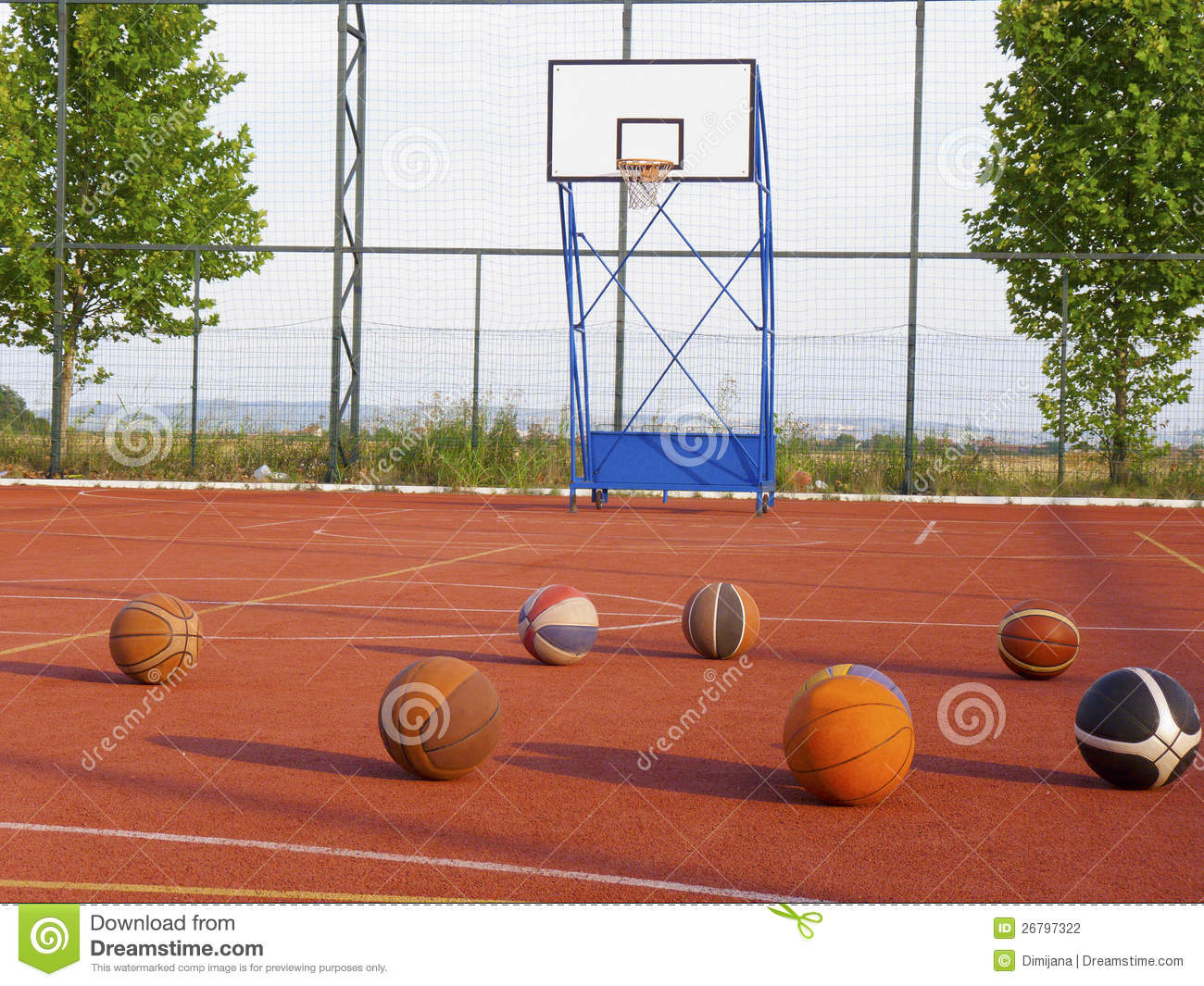 Basketballs and basketball court stock photography image for How big is a basketball court