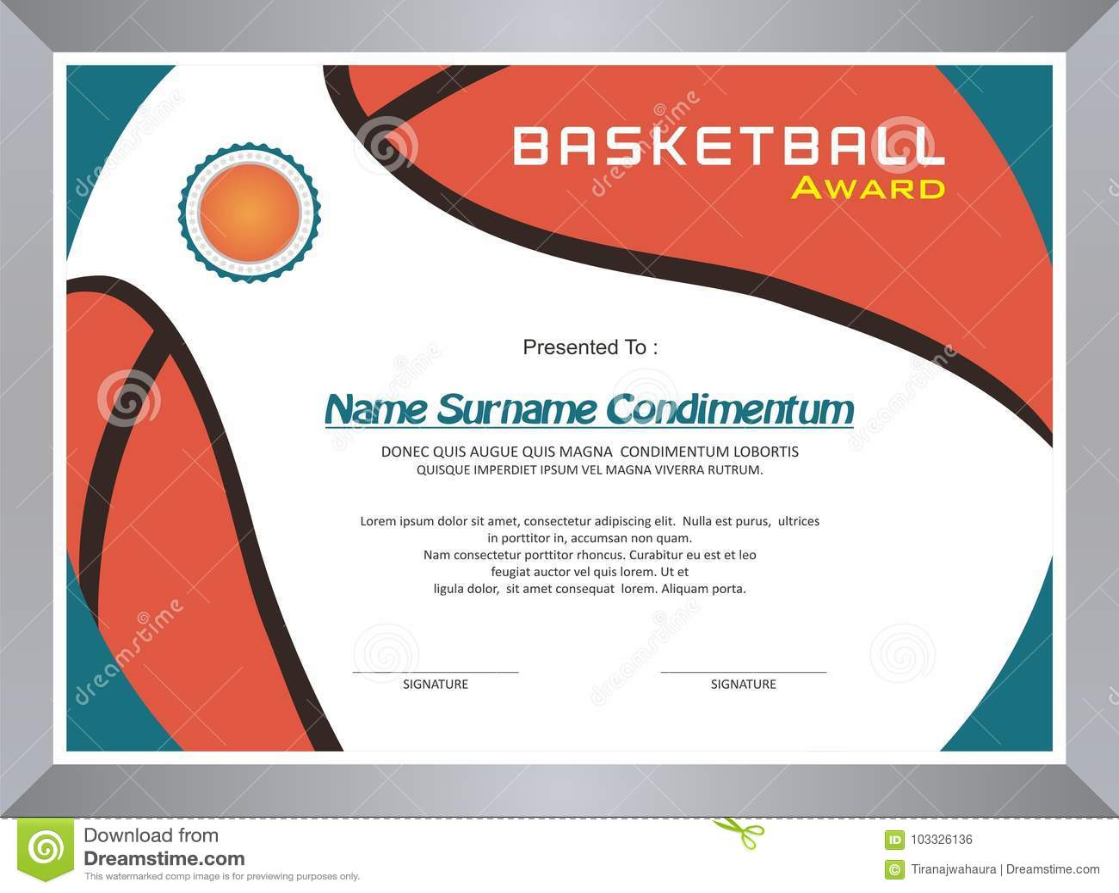 Basketbaltoekenning, het ontwerp van het diplomamalplaatje
