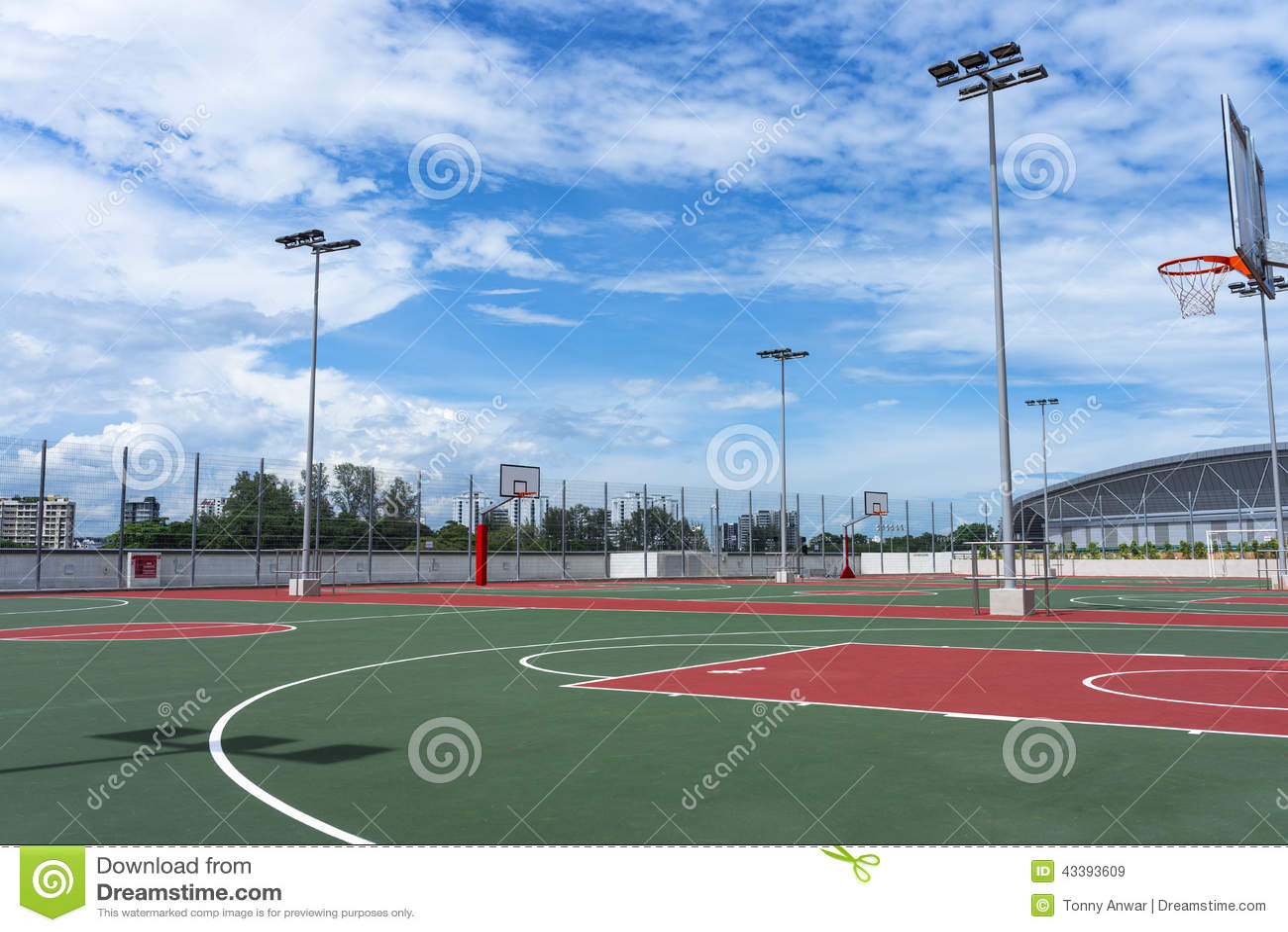 Basketdomstol om illustration