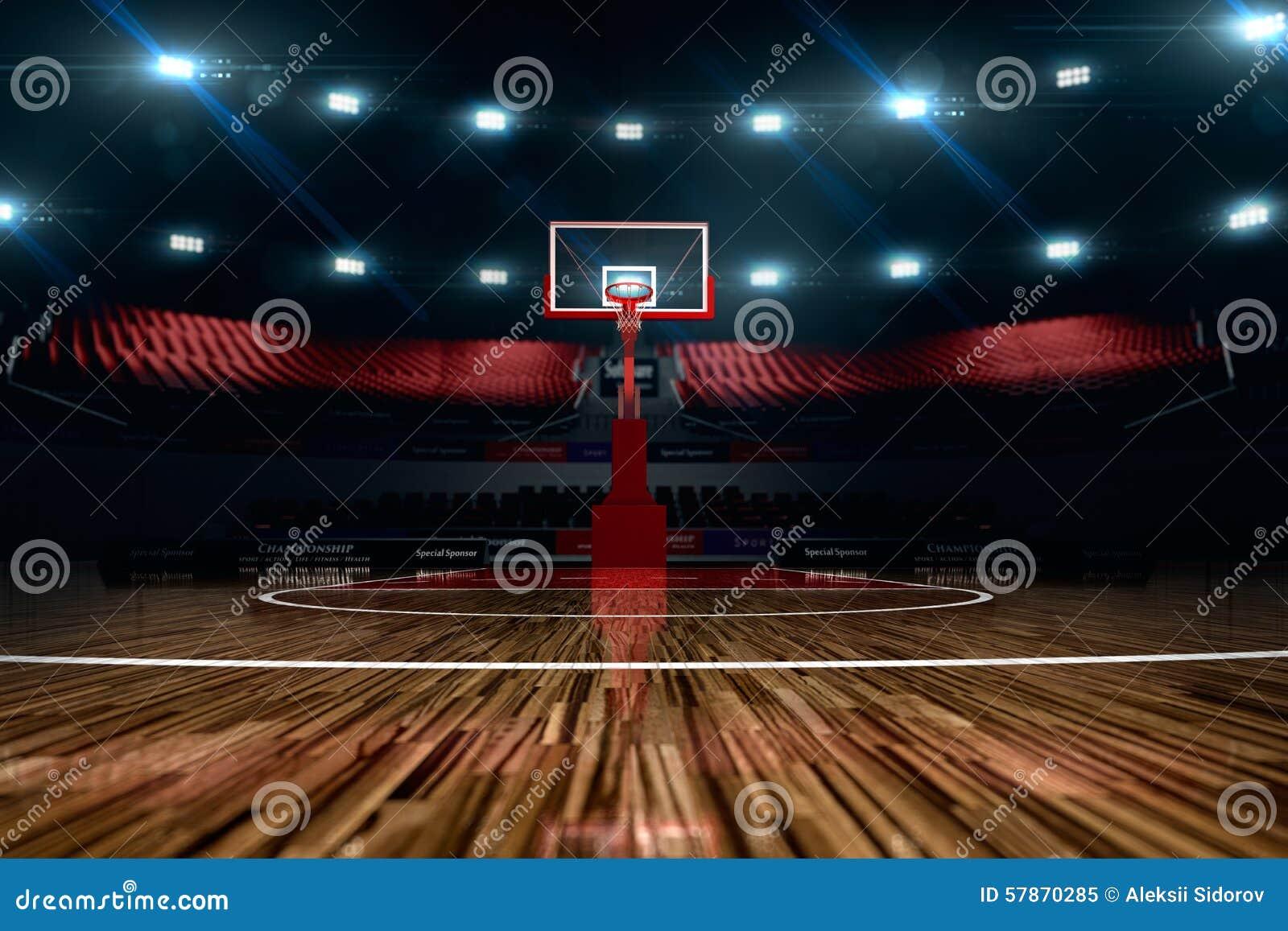 Basketdomstol om illustration stadion för arenaregnsport