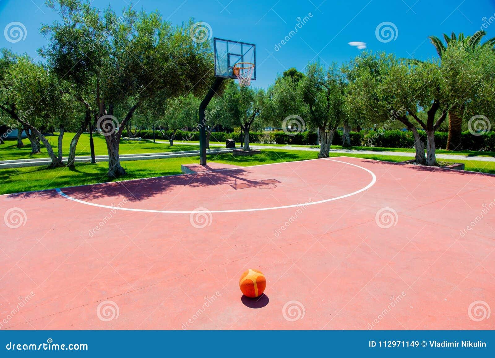 Basketdomstol på utomhus- i tropiskt område