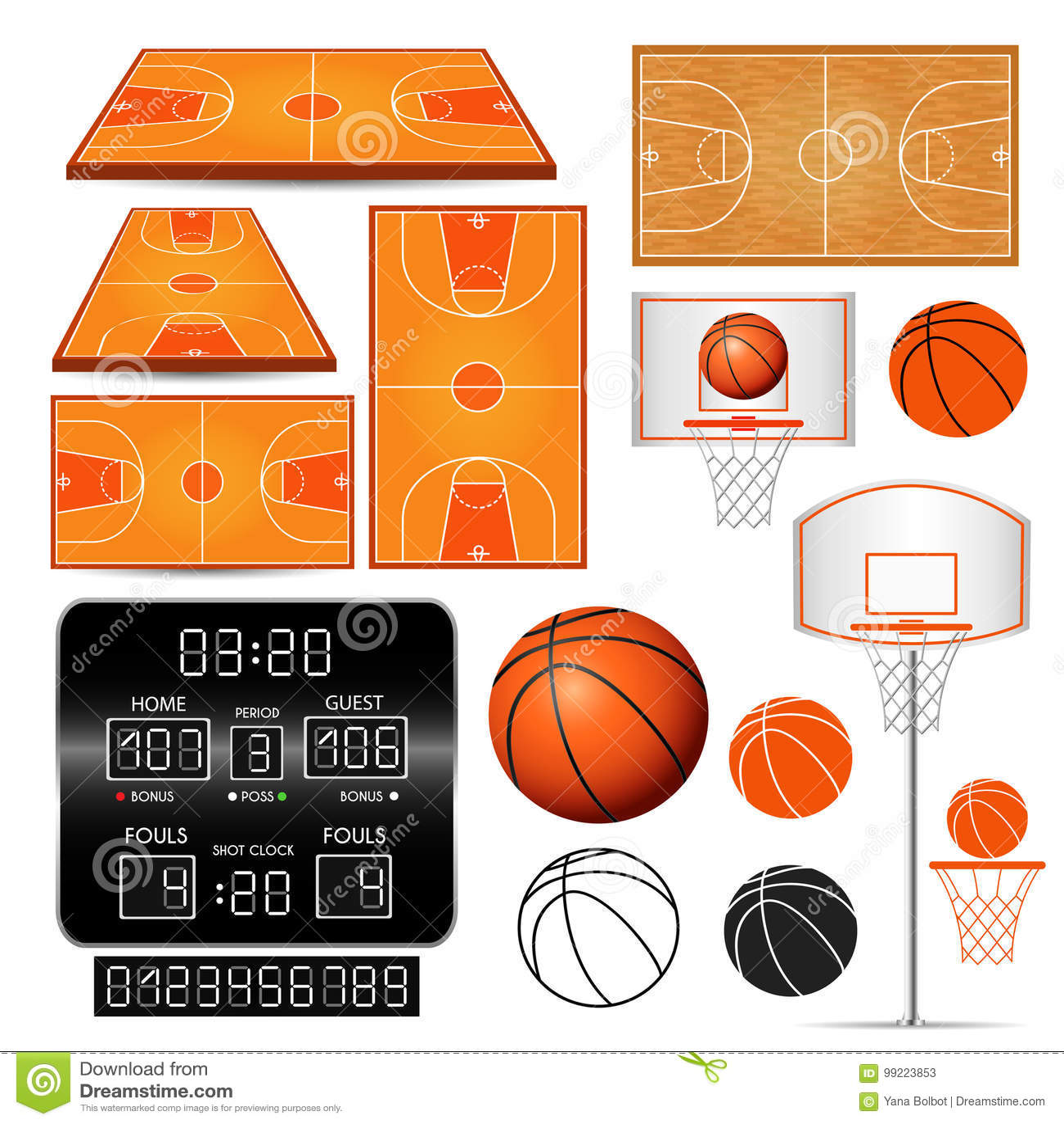 Basketkorg, beslag, boll, funktionskort med nummer, fält på vit bakgrund