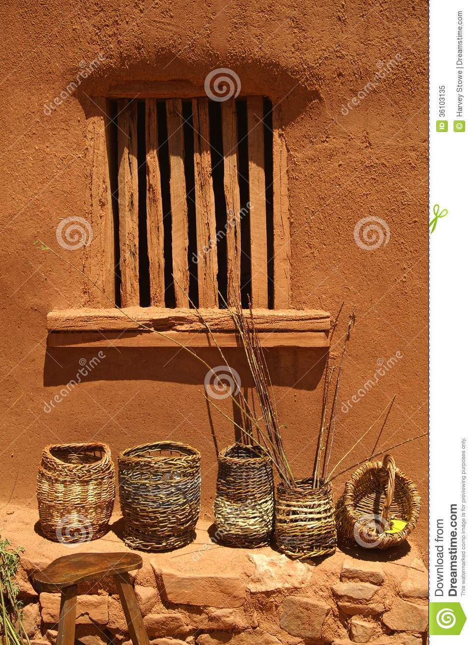 Baskets Against An Adobe Wall. Stock Image - Image of bricks, wall ...
