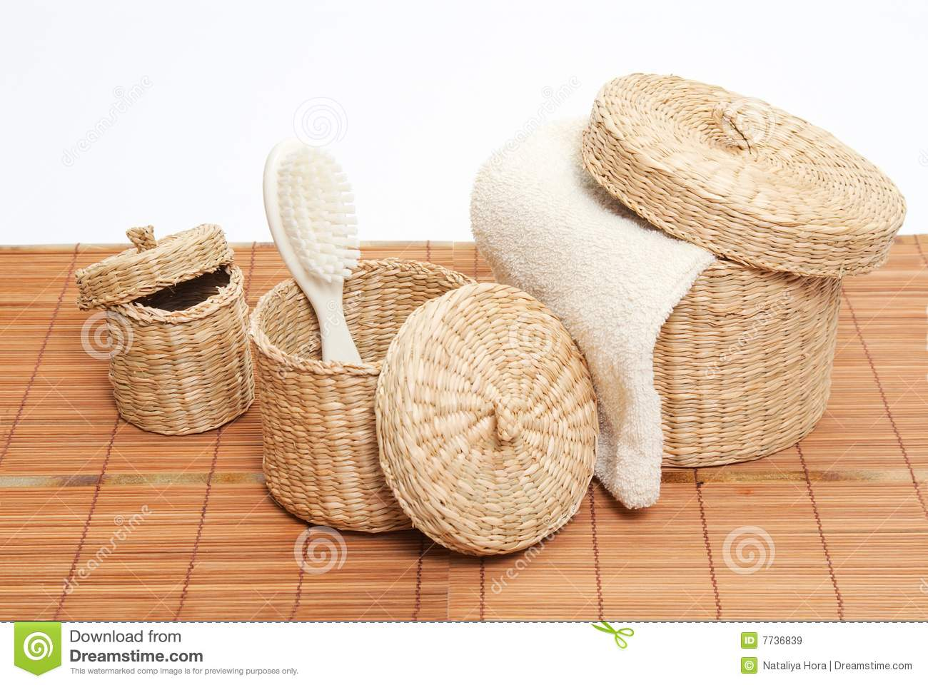 Baskets with bath accessories royalty free stock images for Bathroom accessories baskets