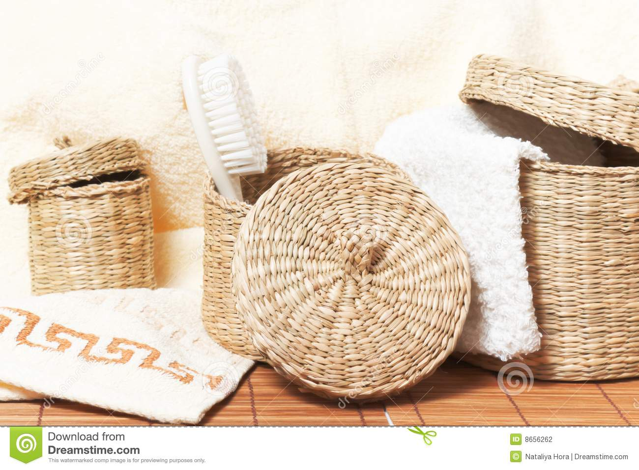 Baskets With Bath Accessories Stock Photography Image 8656262
