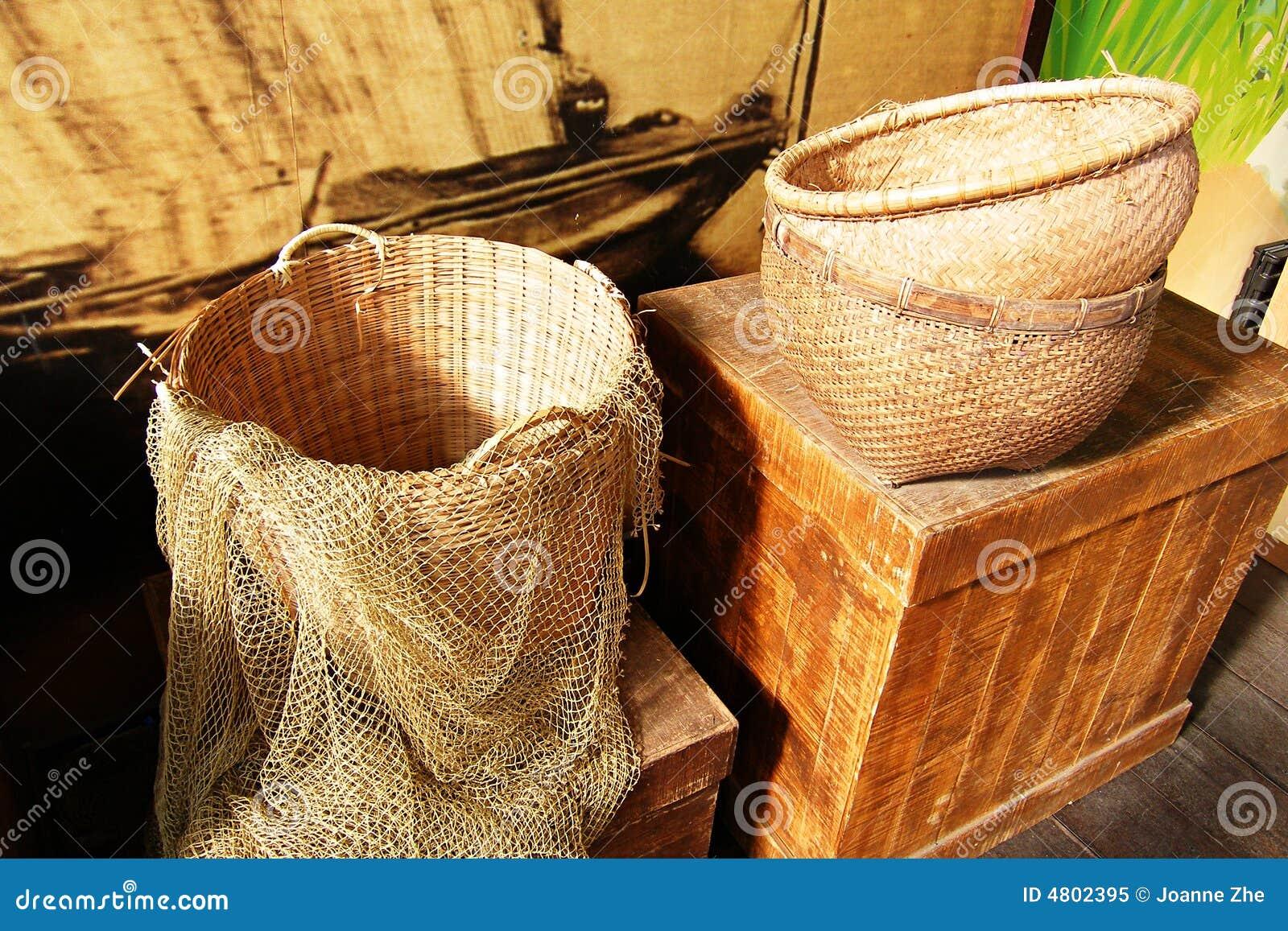 Baskets and fishing net