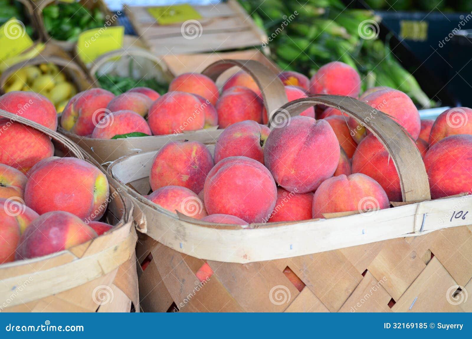 Baskets of Peaches Closeup