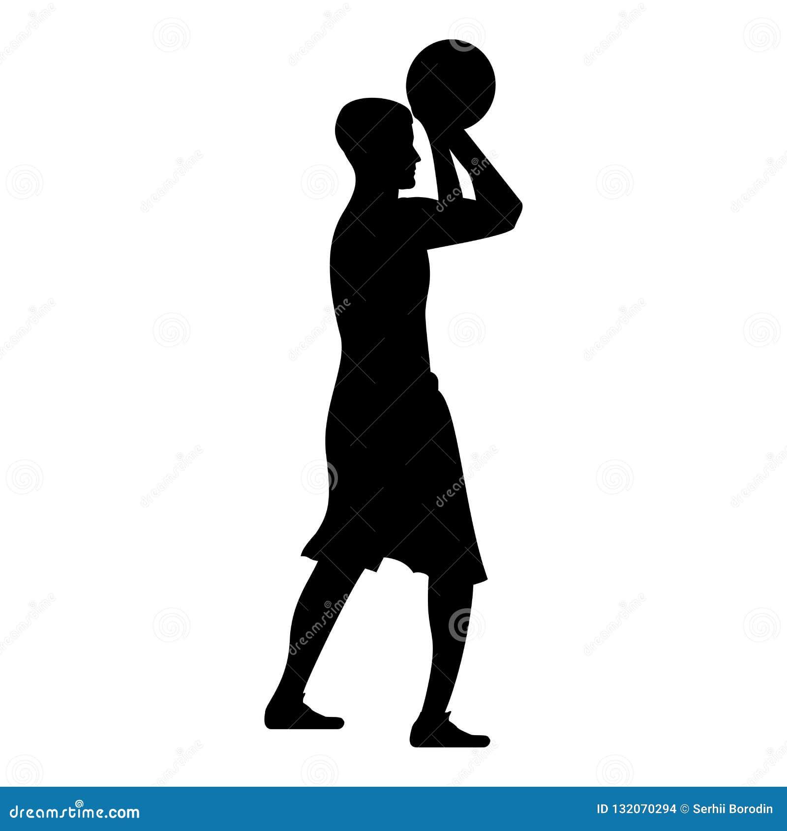 Basketspelaren kastar en basketman som skjuter illustrationen för färg för svart för symbolen för bollsidosikten