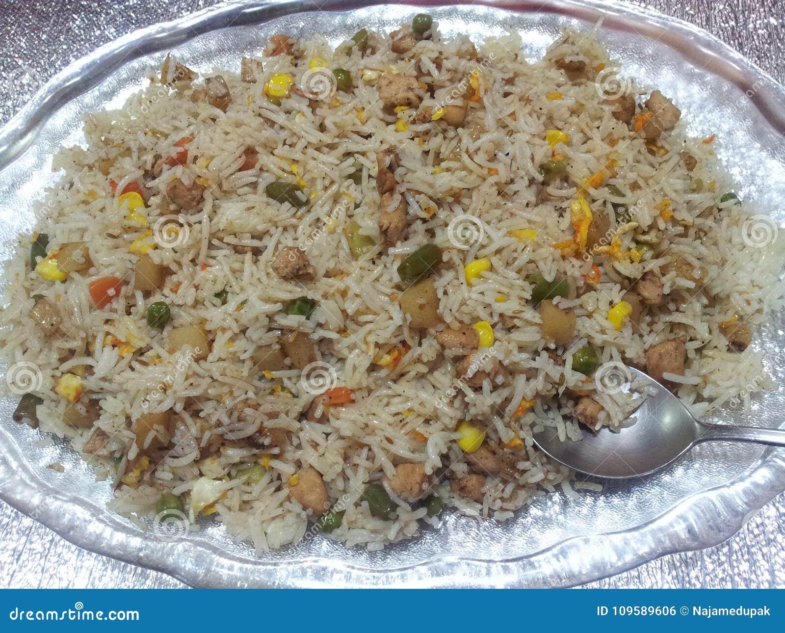 Basmati Rice Pulao or pulav with Peas