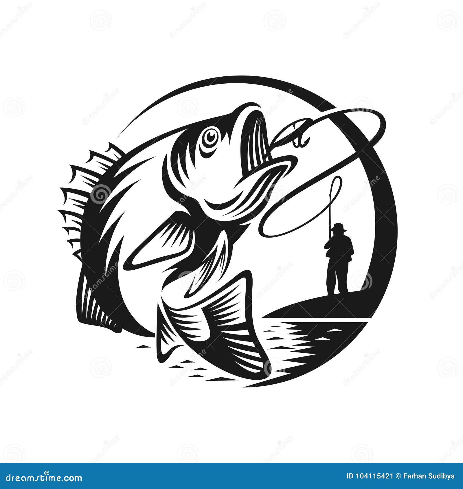 Basowego połowu loga szablonu ilustracja