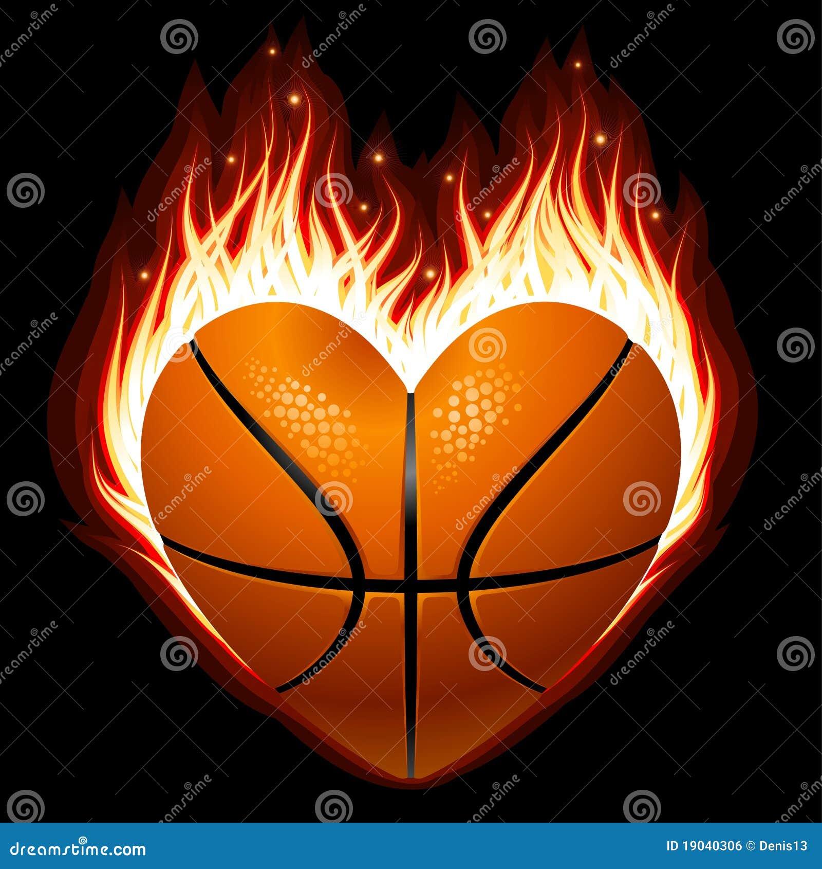 Basquetebol no incêndio na forma do coração