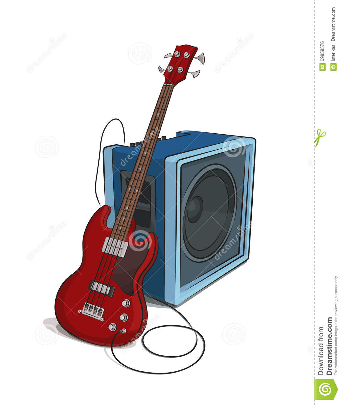 Bass and amplifier illustration stock vector image 69858576