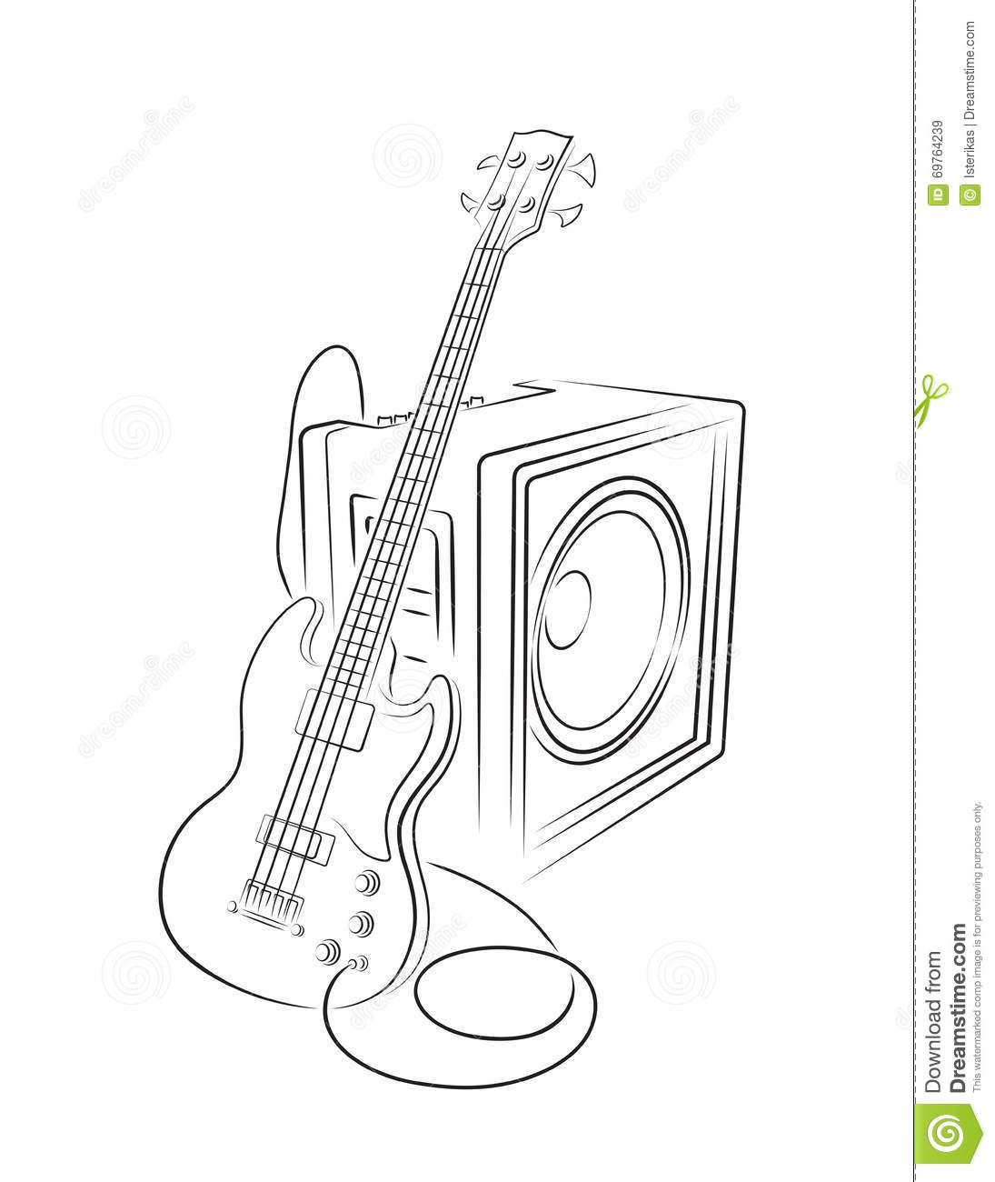 electric bass guitar line art vector illustration cartoon