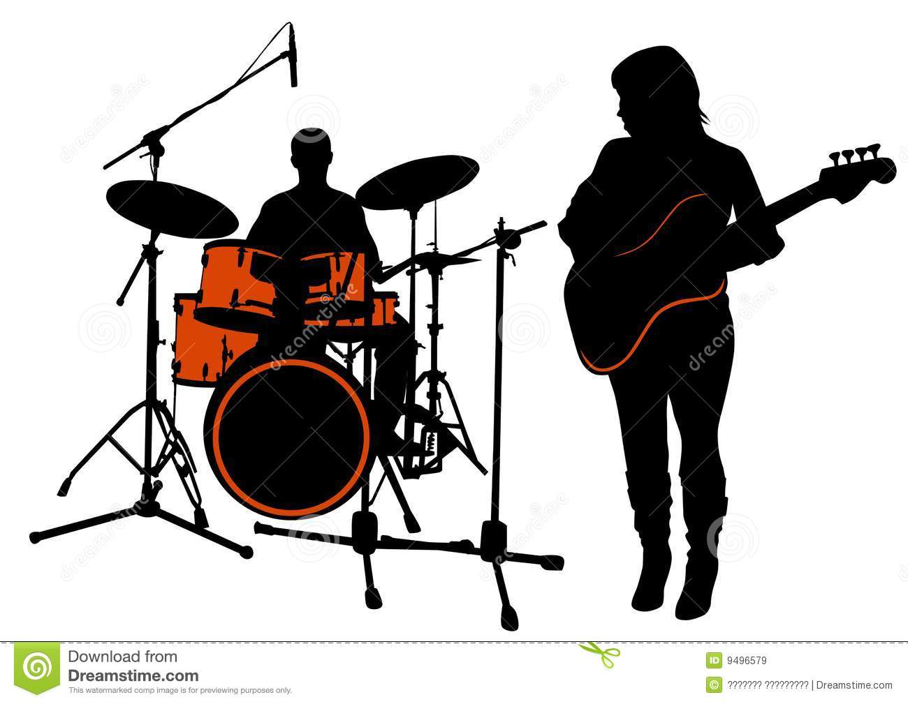 Vector drawing bass and drummer. Silhouette on white background. Saved ... Rock Band Silhouette