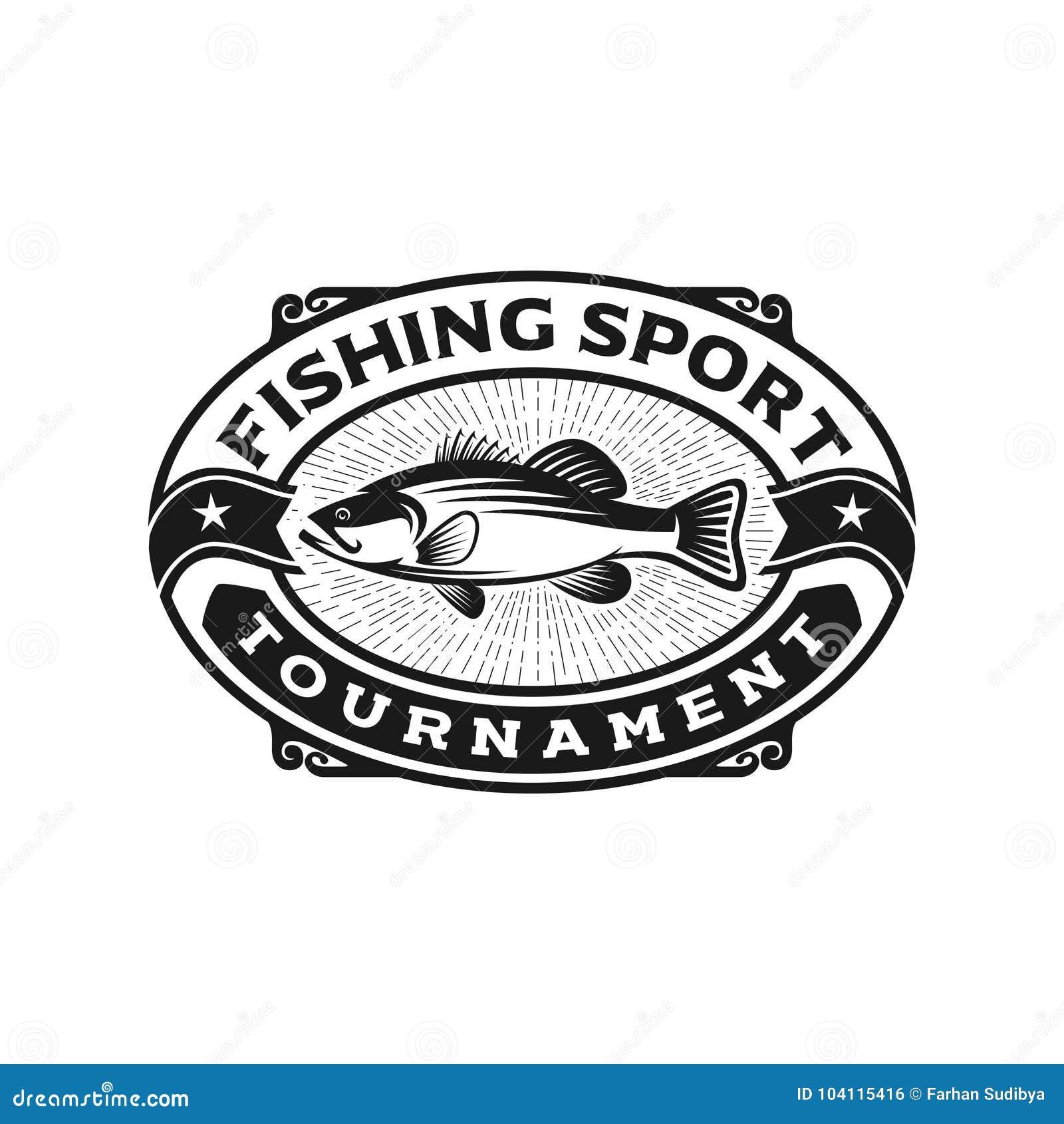 Bass-Fischlogo-Schablonenillustration
