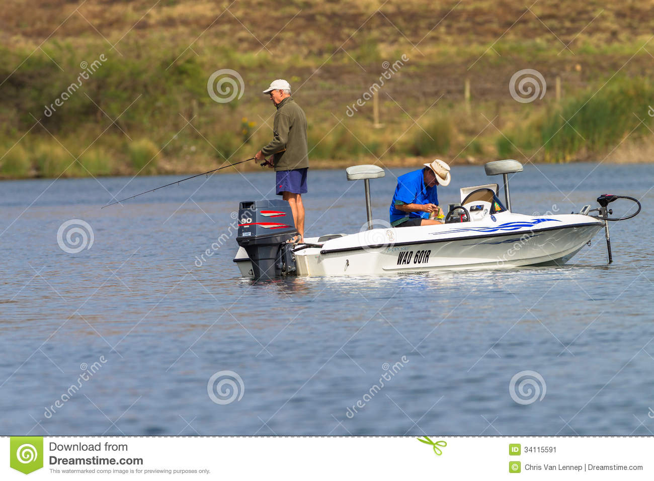 Bass fishing men boat dam editorial photo image 34115591 for Bass fishing boat